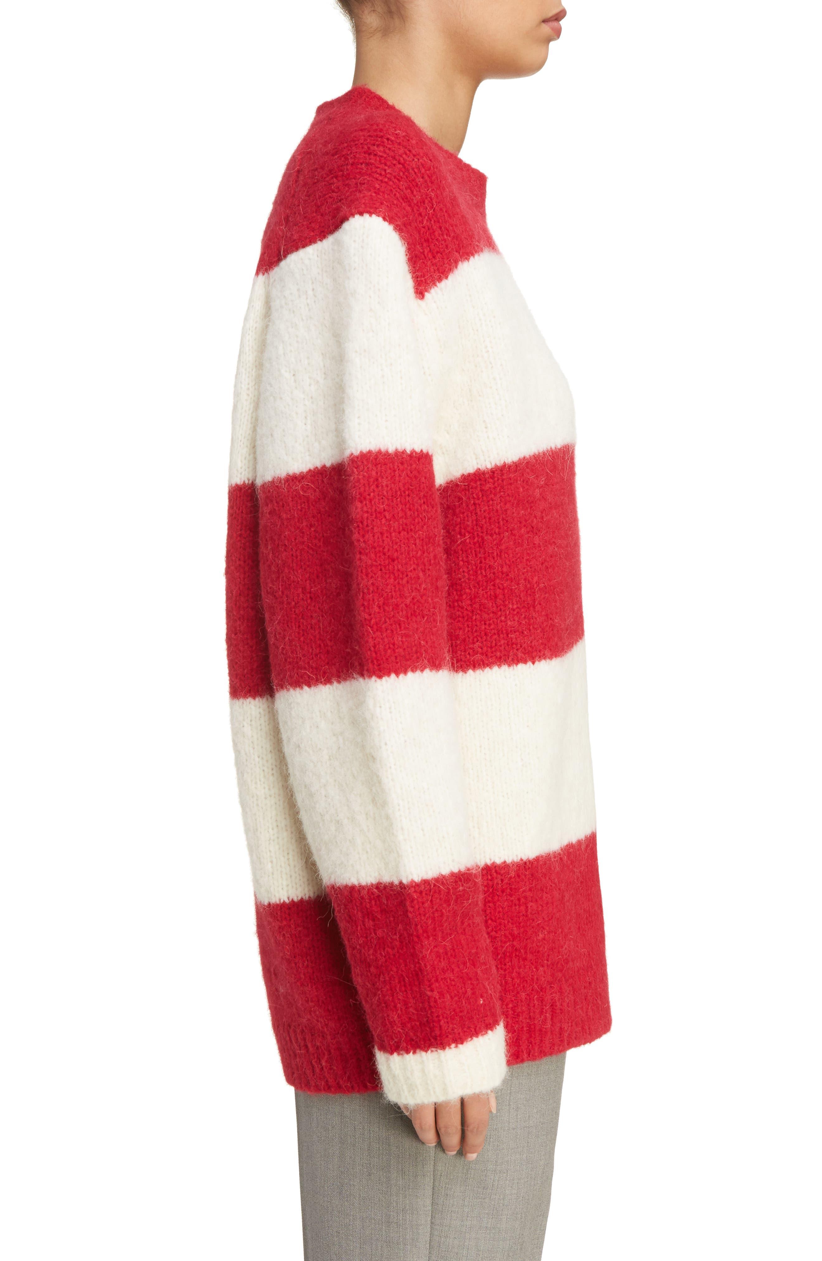 Albah Oversized Stripe Sweater,                             Alternate thumbnail 3, color,                             Red/ White