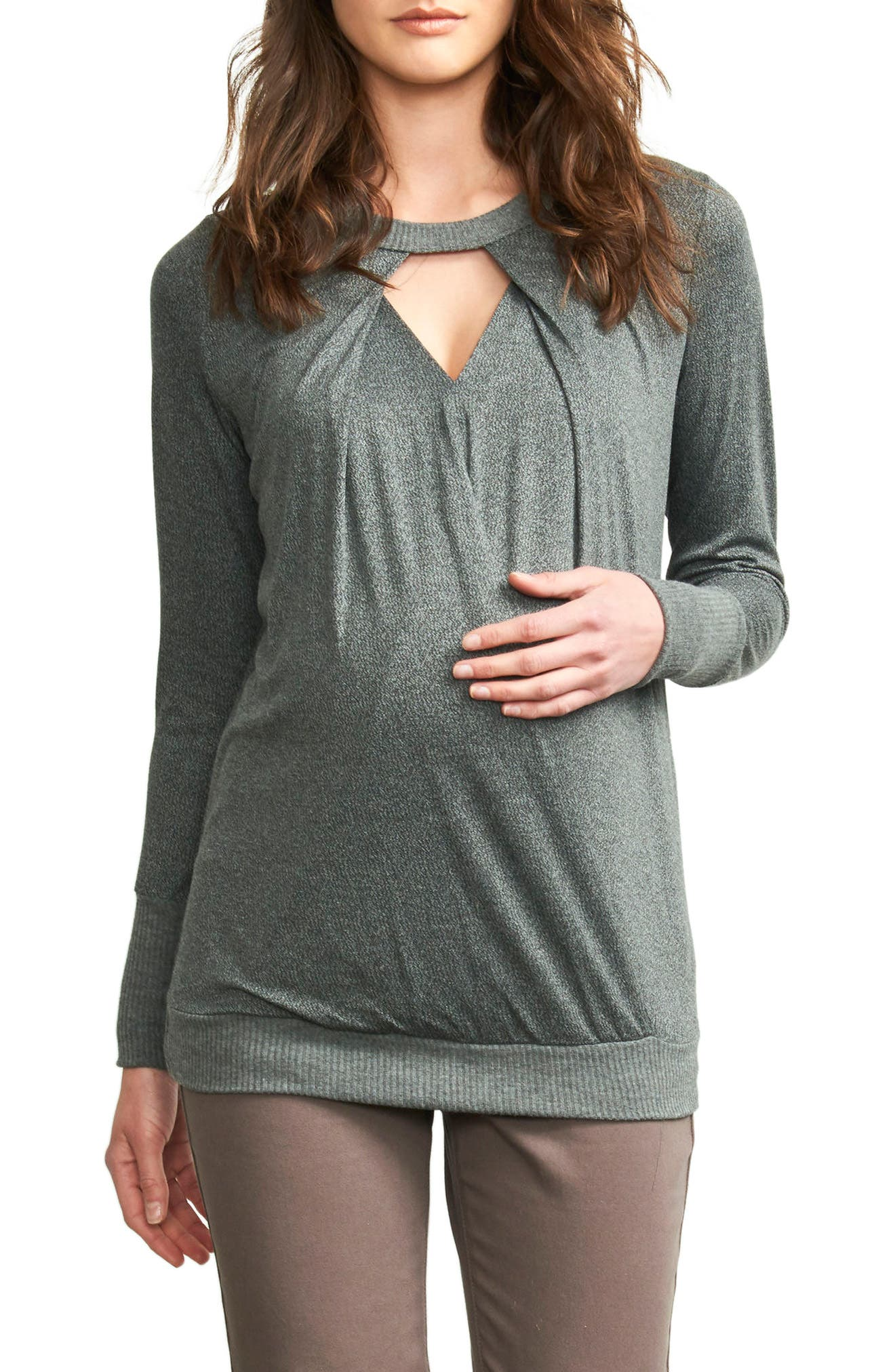 Maternity America Keyhole Maternity Top,                         Main,                         color, Stone Grey