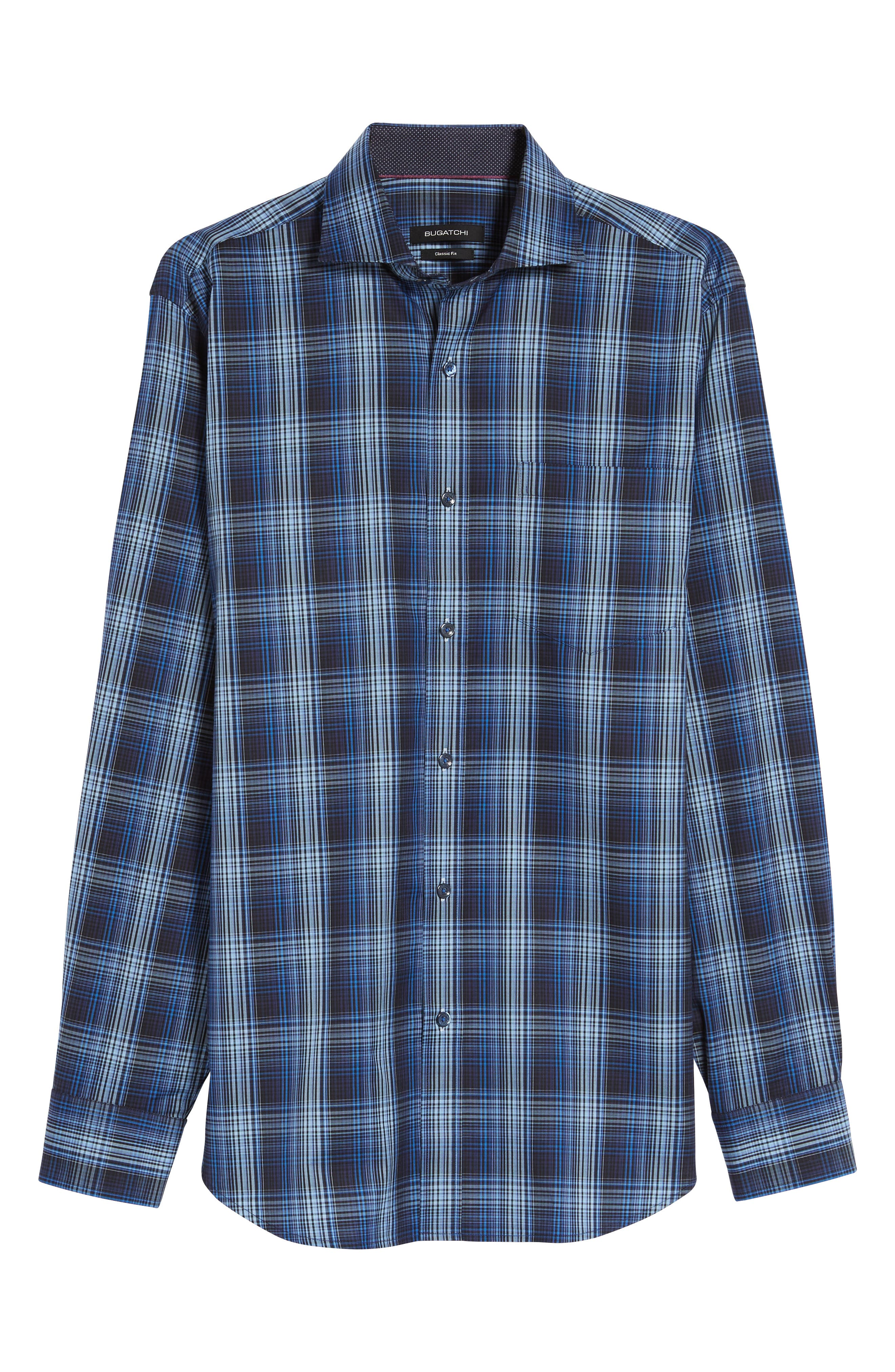 Classic Fit Plaid Sport Shirt,                             Alternate thumbnail 6, color,                             Midnight
