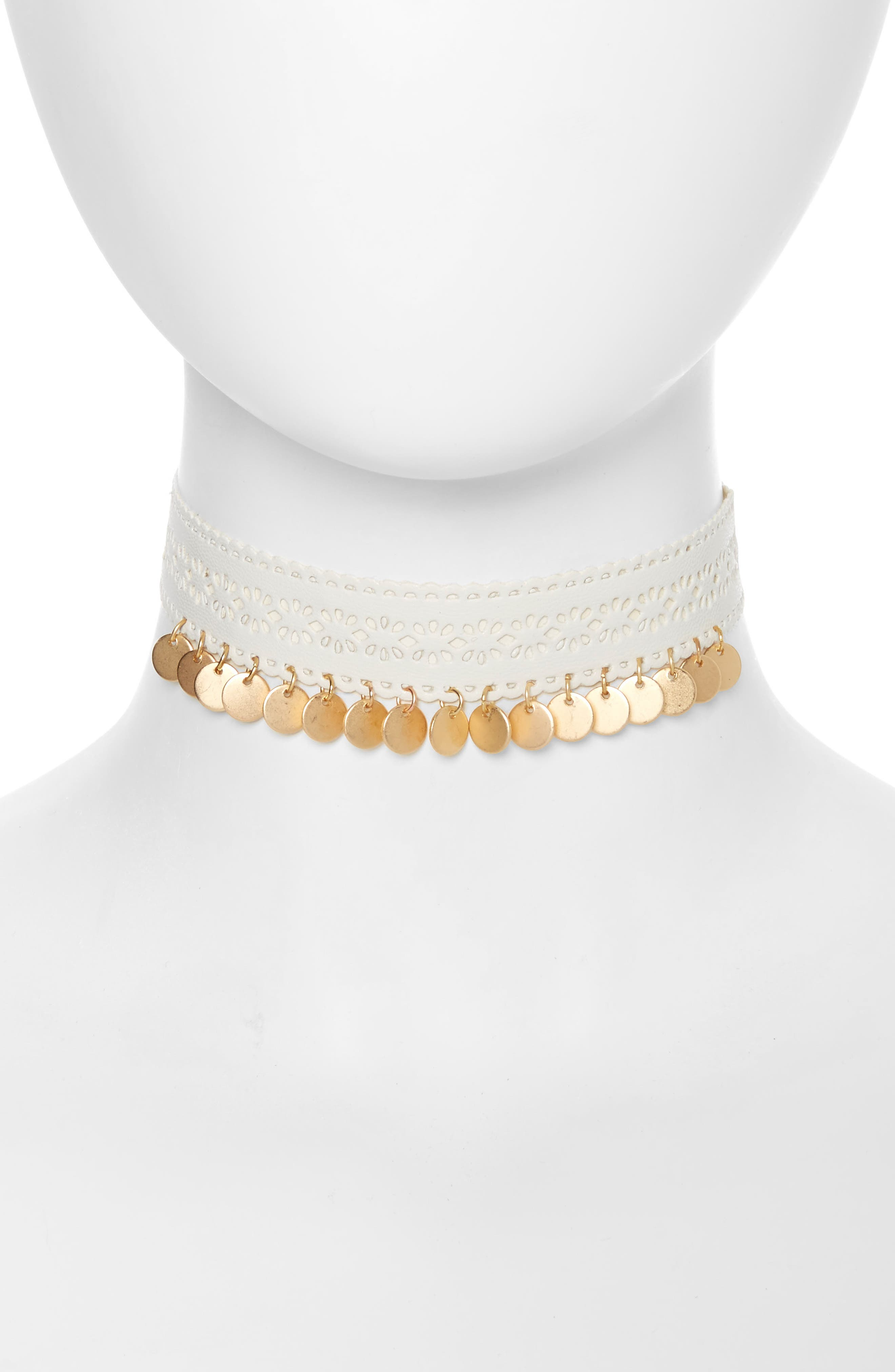 Topshop Cutout & Disc Leather Choker