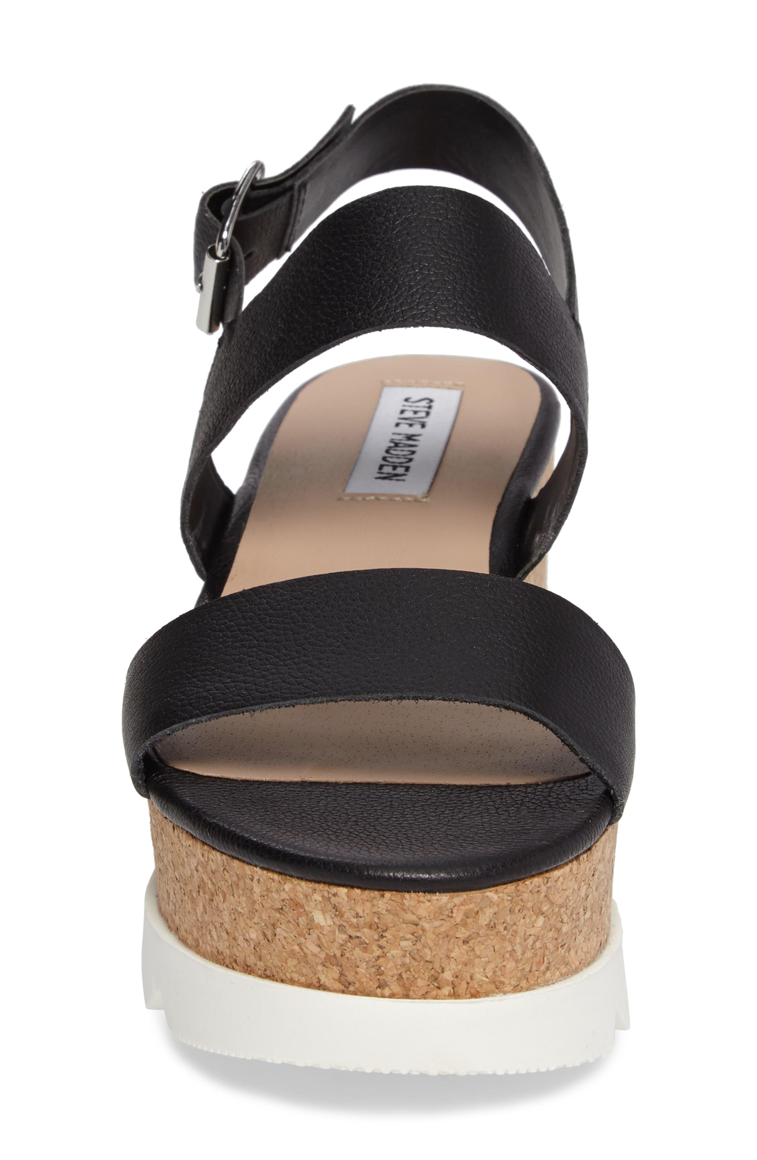 Krista Wedge Sandal,                             Alternate thumbnail 4, color,                             Black Leather