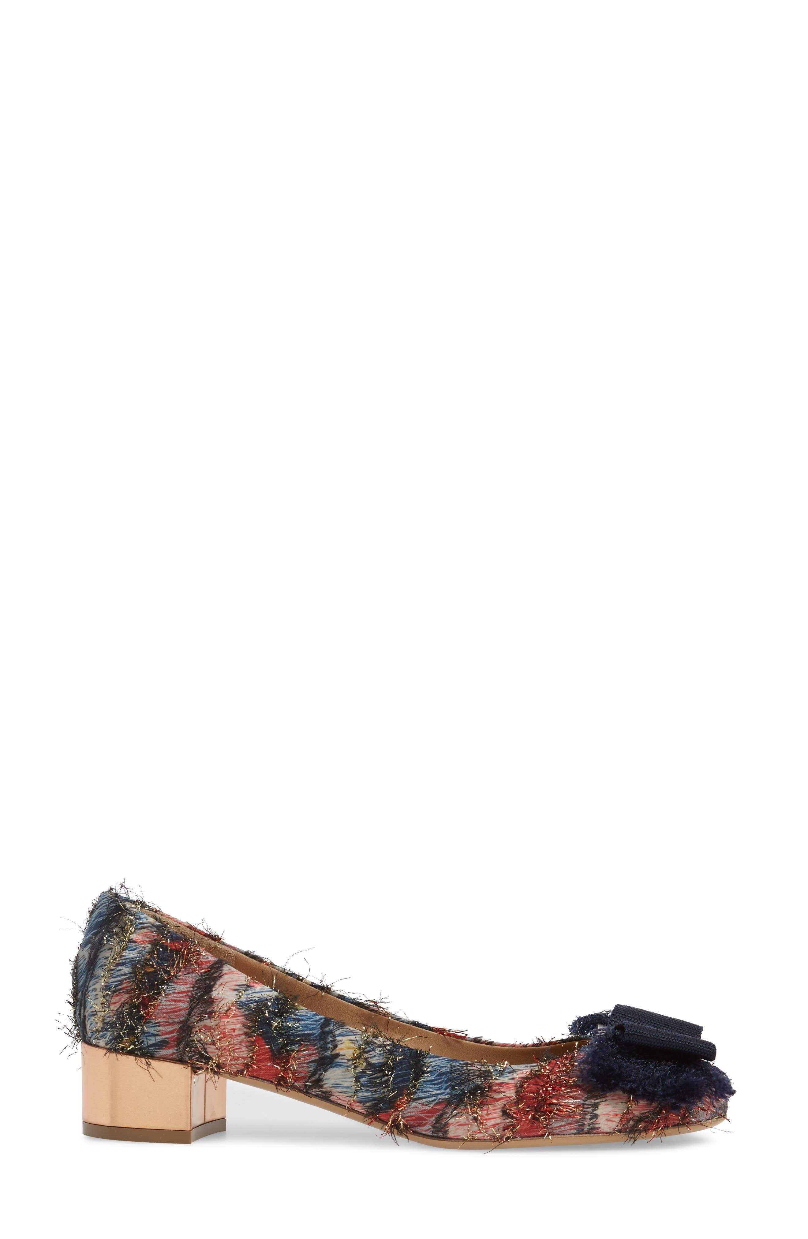 Frayed Bow Pump,                             Alternate thumbnail 3, color,                             Blue Multi