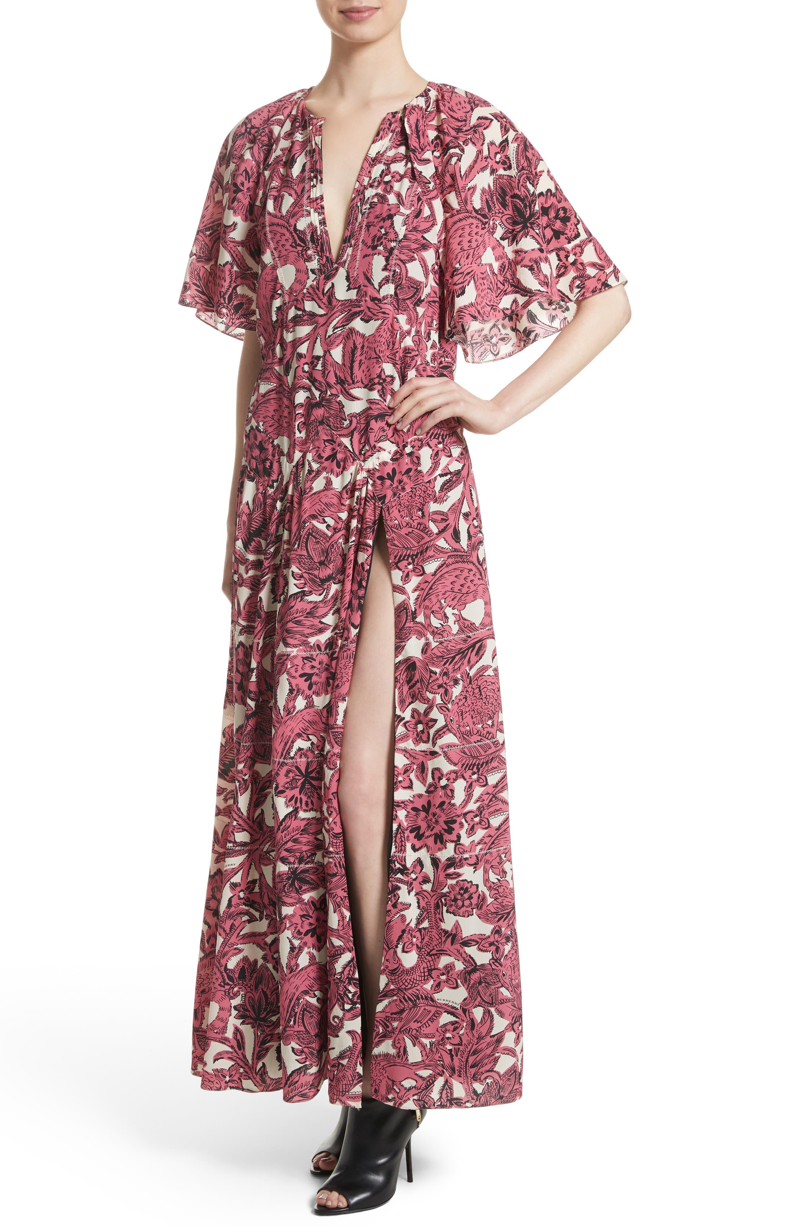 Hallie Silk Dress,                             Alternate thumbnail 4, color,                             Pink Azalea