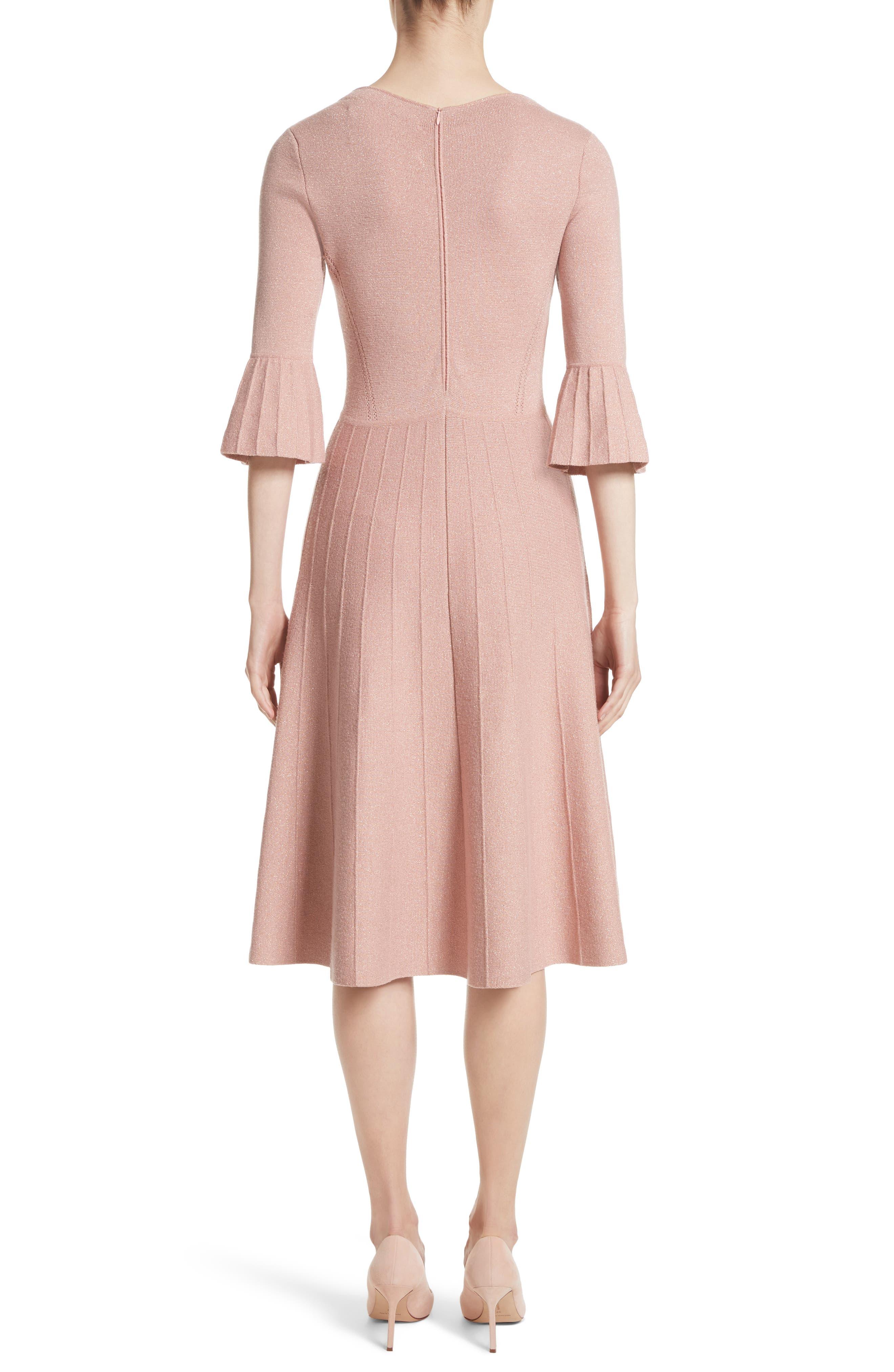 Metallic Knit Fit & Flare Dress,                             Alternate thumbnail 2, color,                             Pink