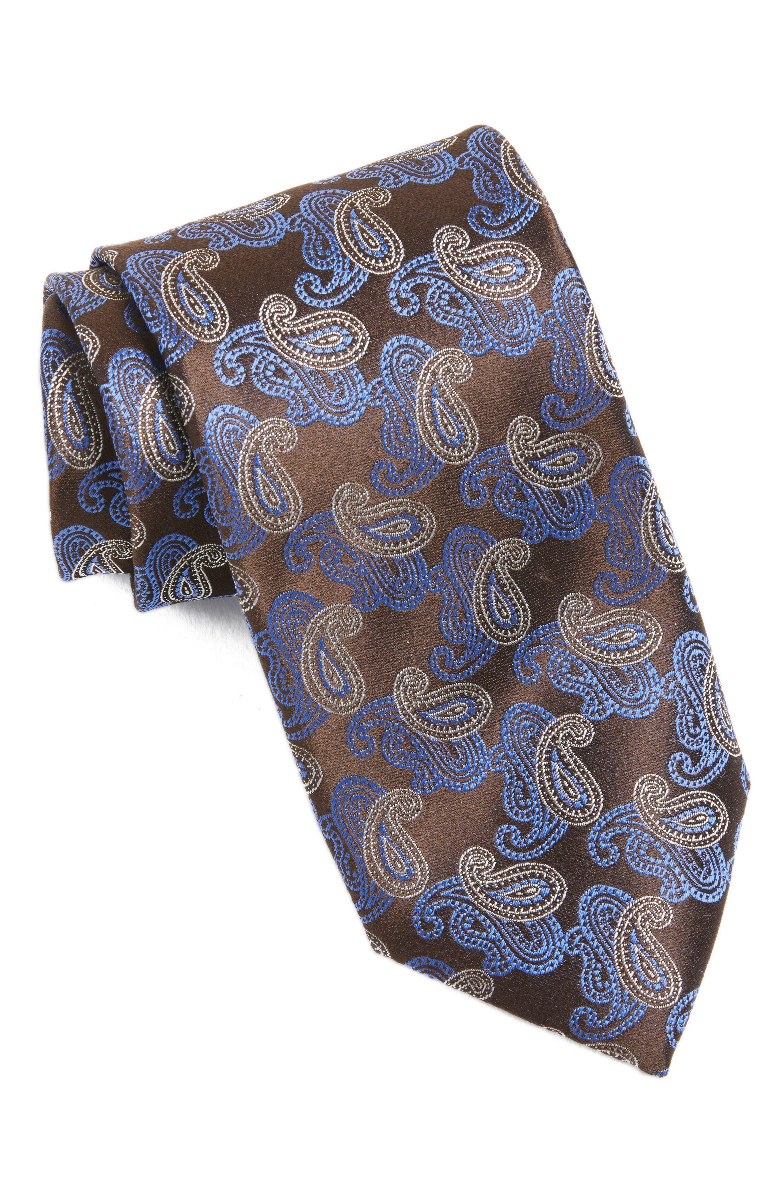 Paisley Silk Tie,                         Main,                         color, Dark Brown