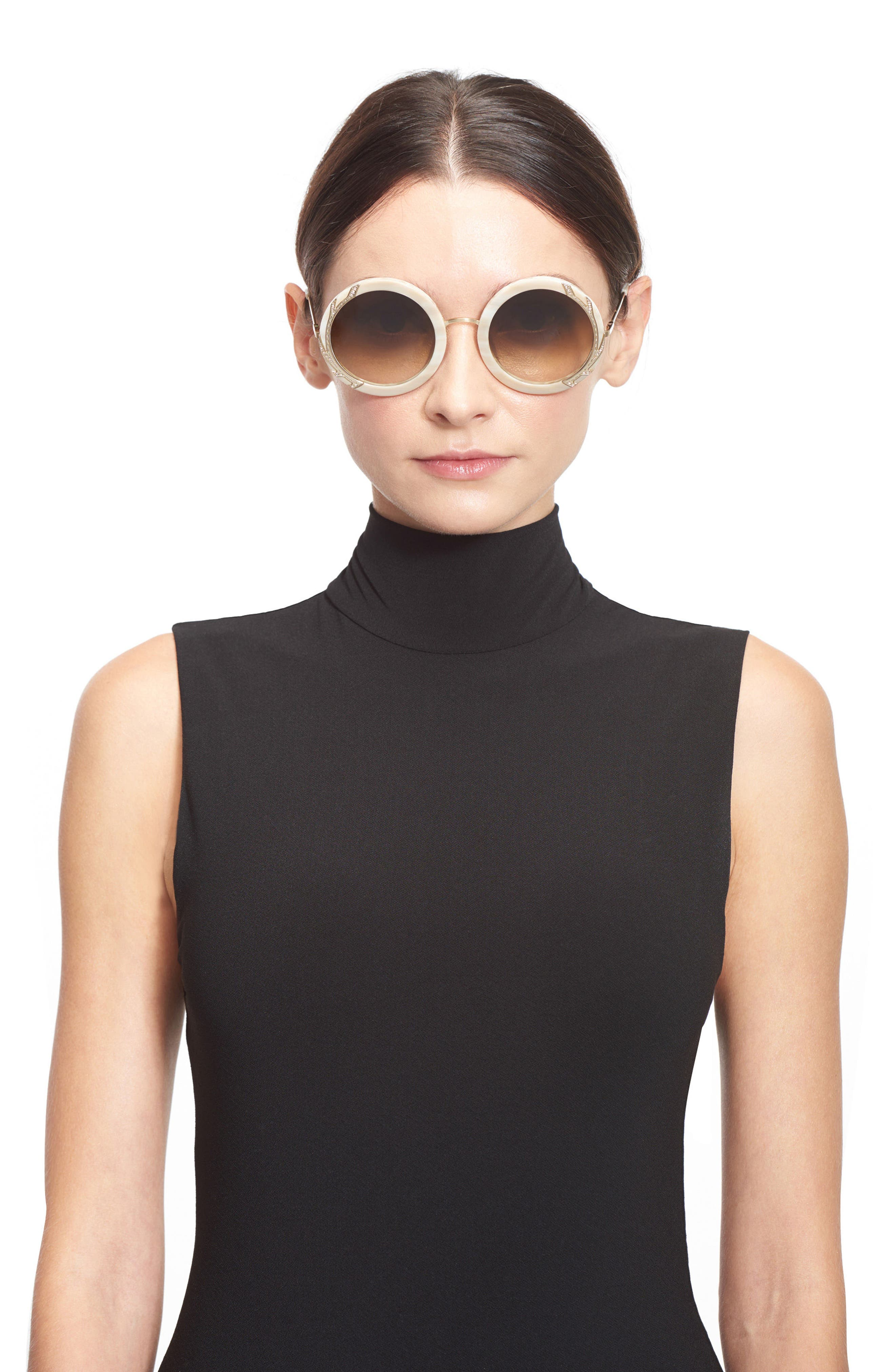 Alternate Image 3  - Alice + Olivia Beverly Crystal 53mm Special Fit Round Sunglasses