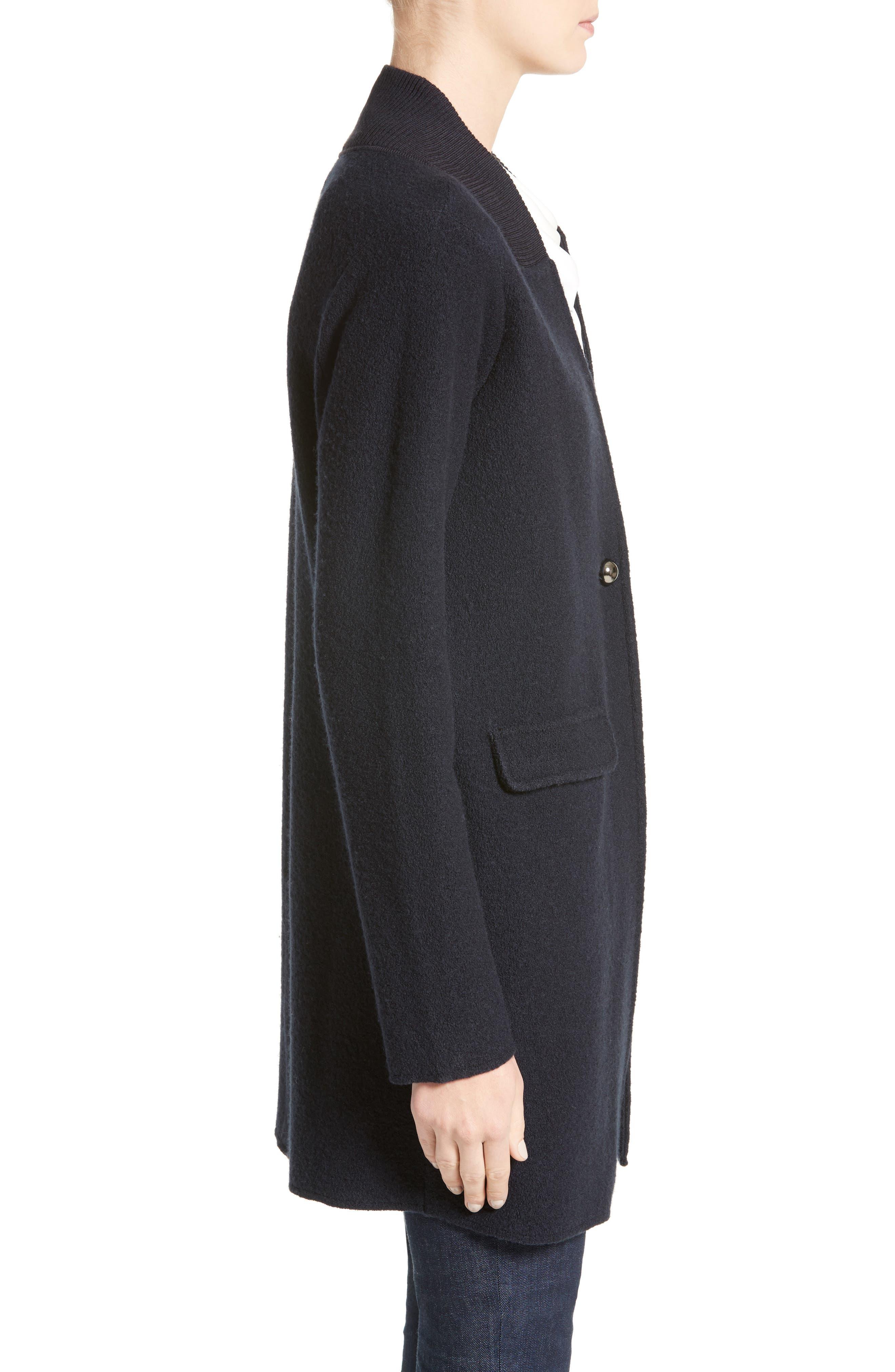Armani Jeans Single Button Wool Coat,                             Alternate thumbnail 3, color,                             Navy