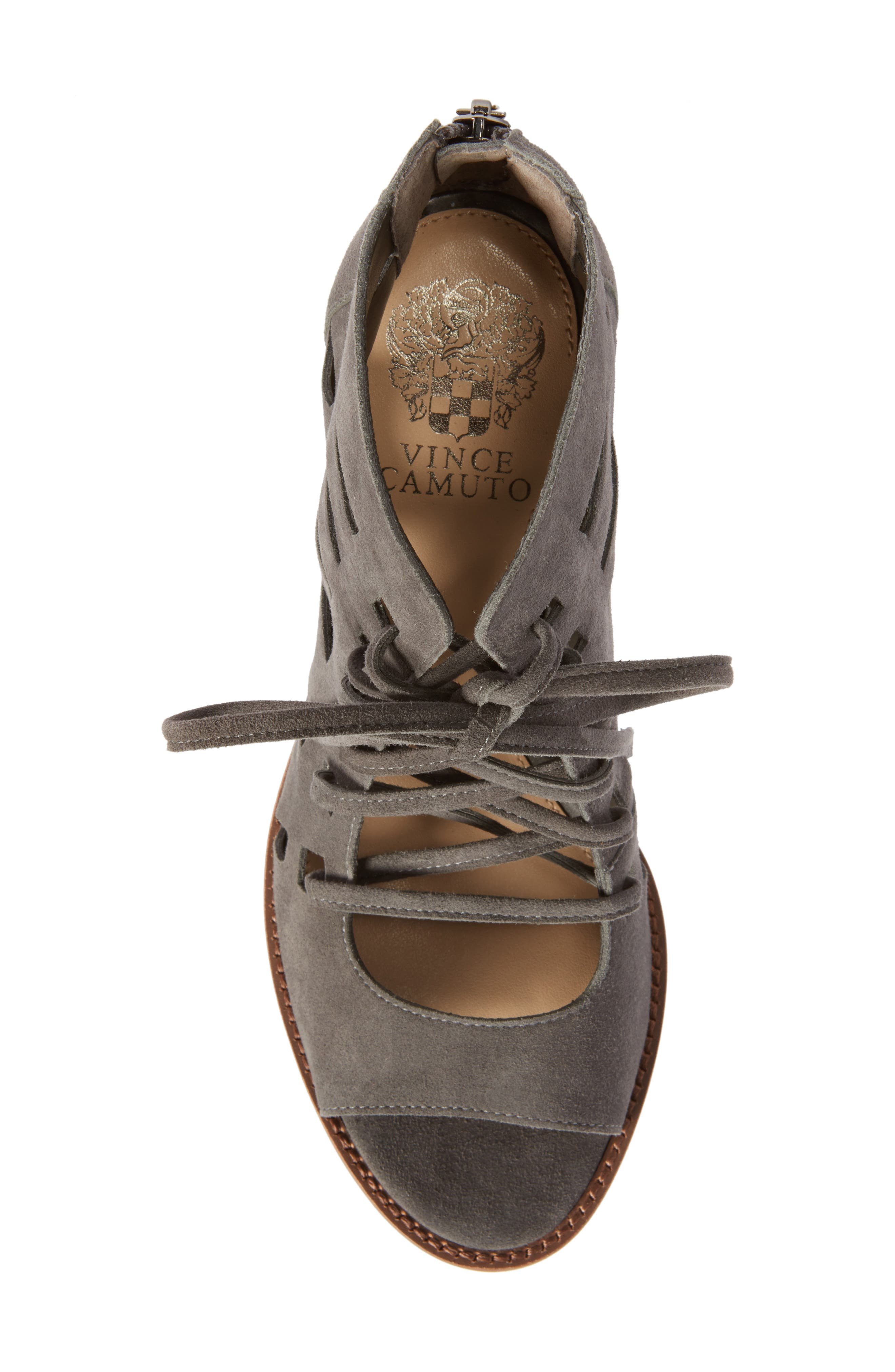 Tressa Perforated Lace-Up Sandal,                             Alternate thumbnail 5, color,                             Greystone Suede