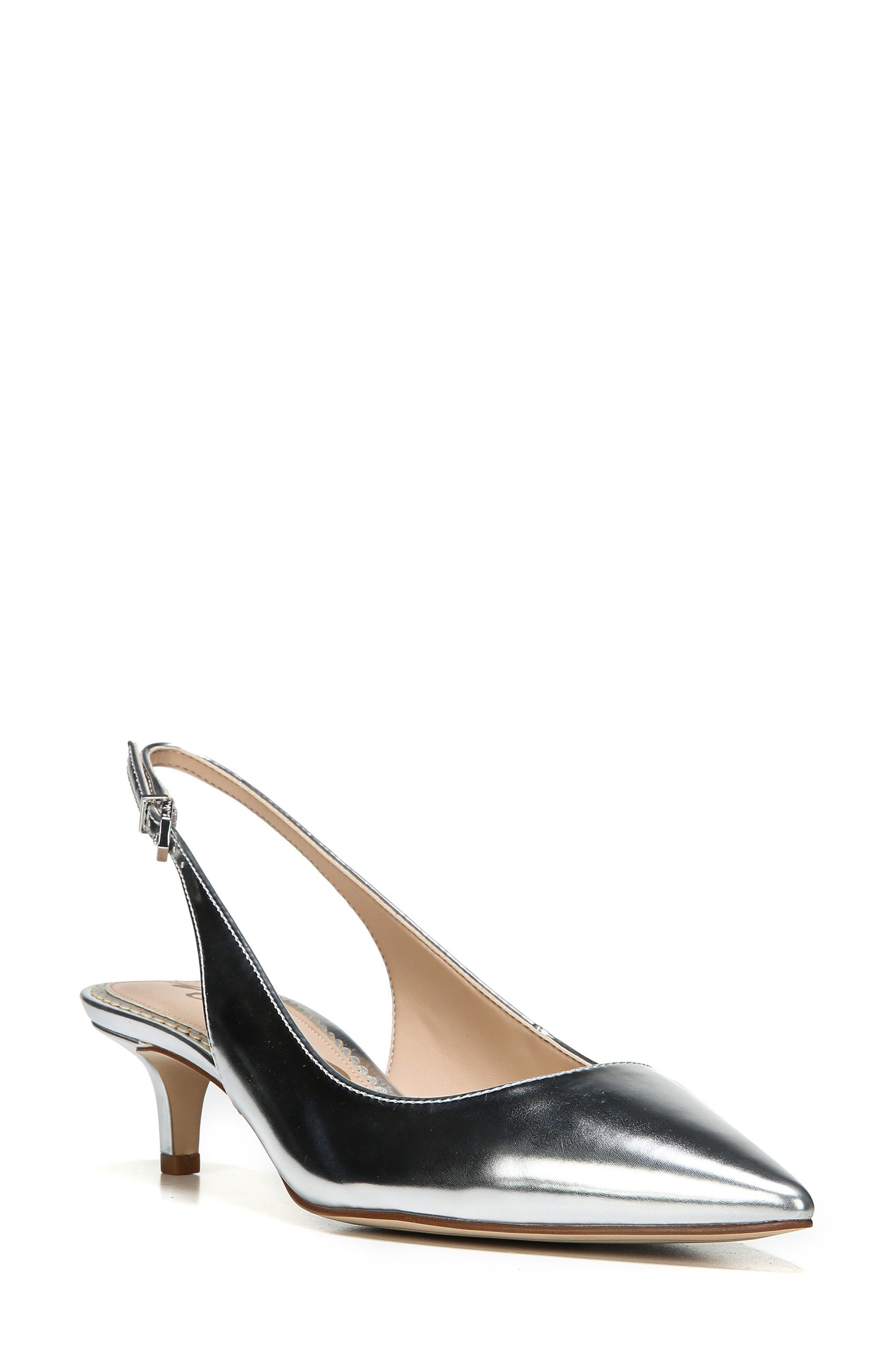 67917537193711 Sam Edelman Ludlow Pointed Metallic Leather Slingback Pump In Soft Silver