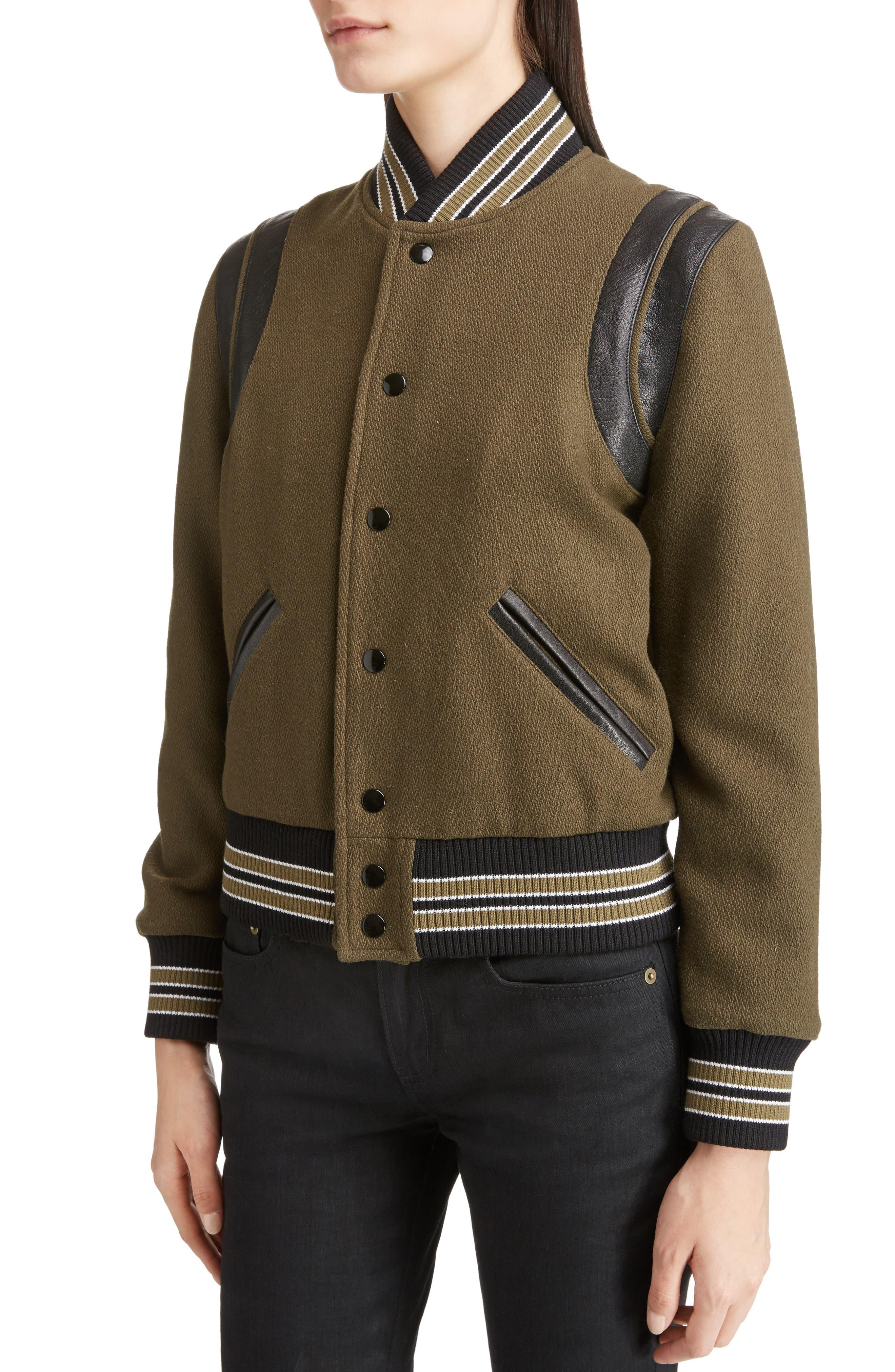 Alternate Image 5  - Saint Laurent Leather Trim Classic Teddy Jacket