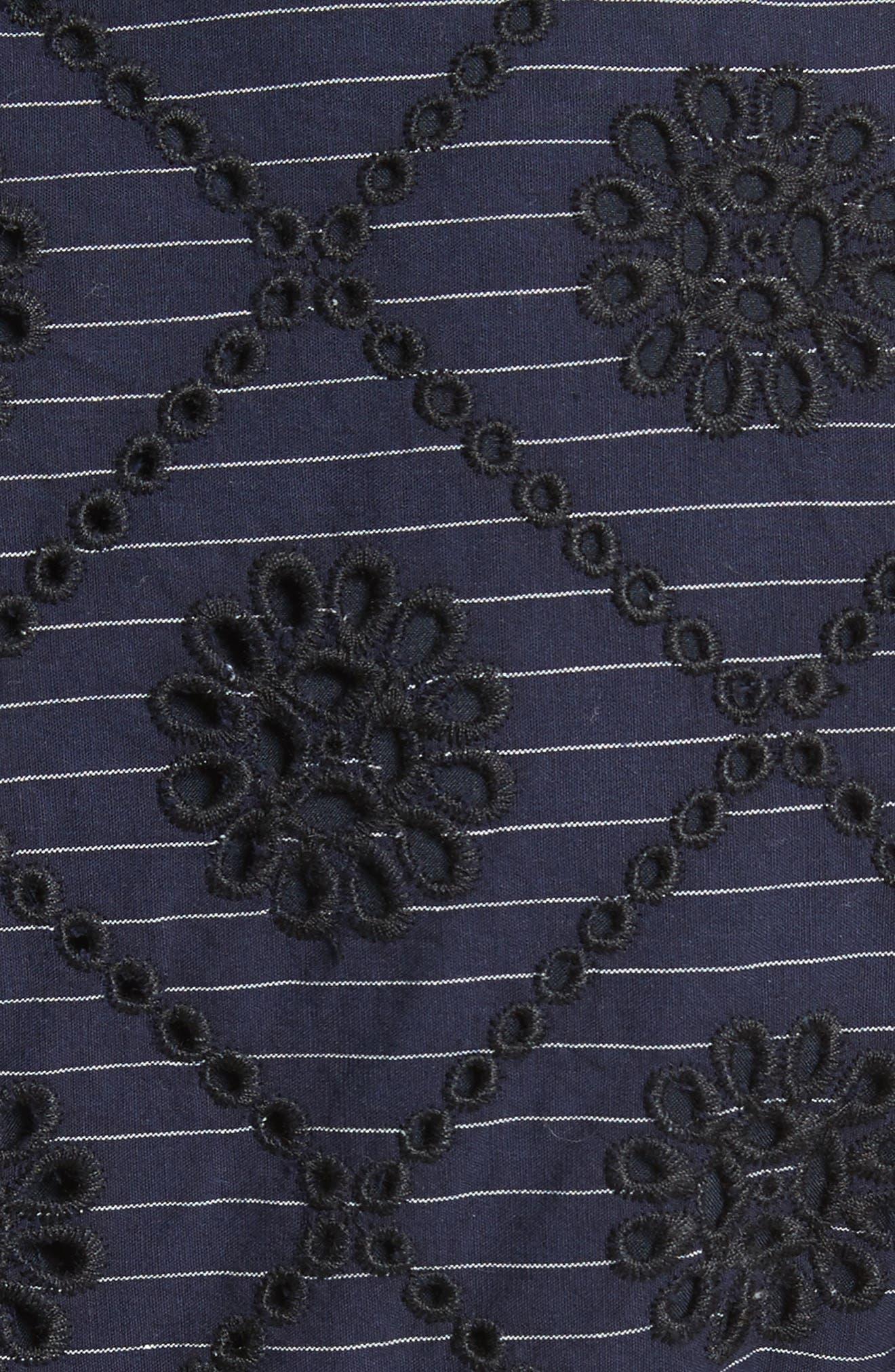 Ruffle Sleeve Eyelet Minidress,                             Alternate thumbnail 5, color,                             Navy Pin Strip