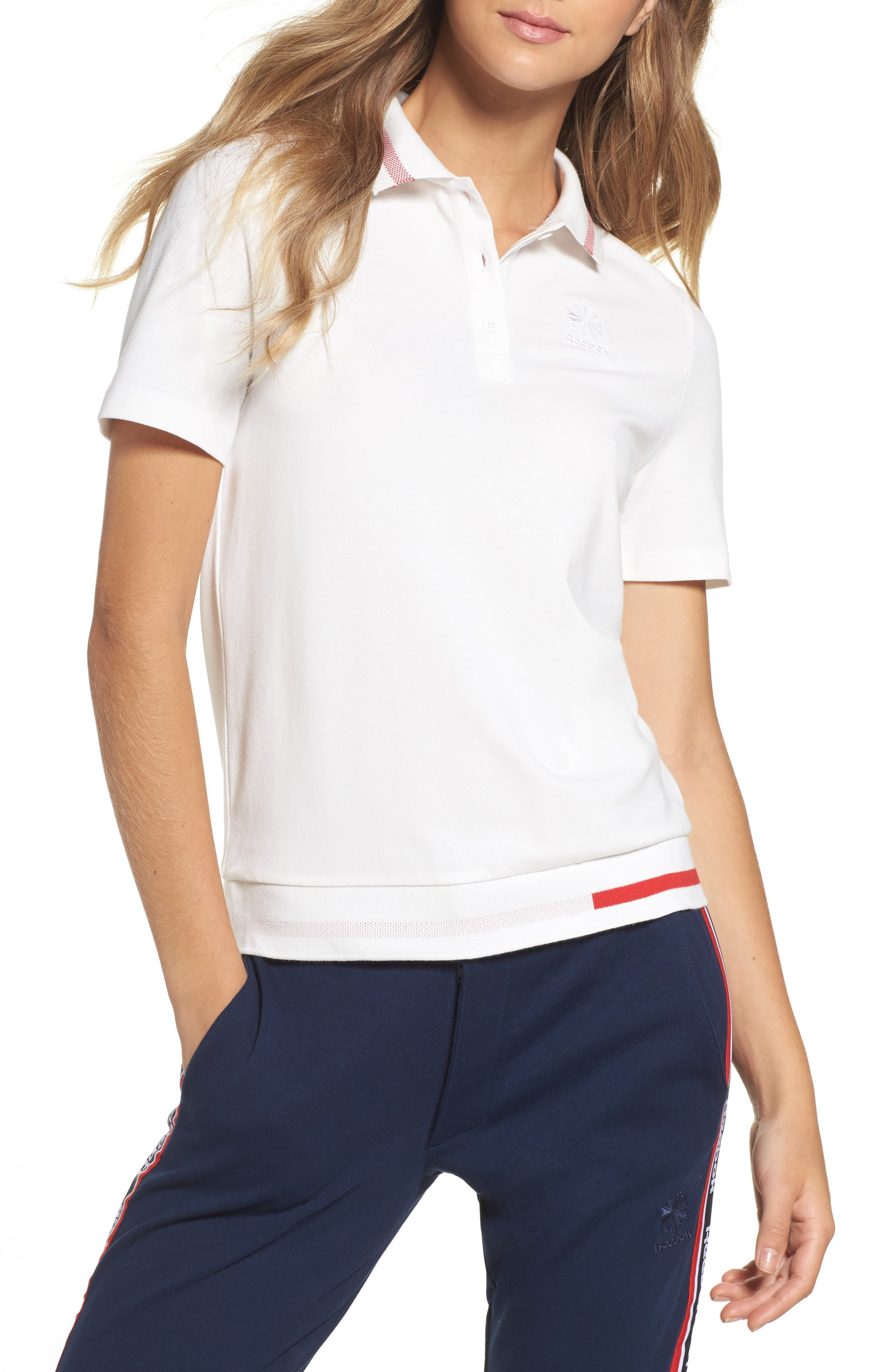 Piqué Polo Shirt,                         Main,                         color, White