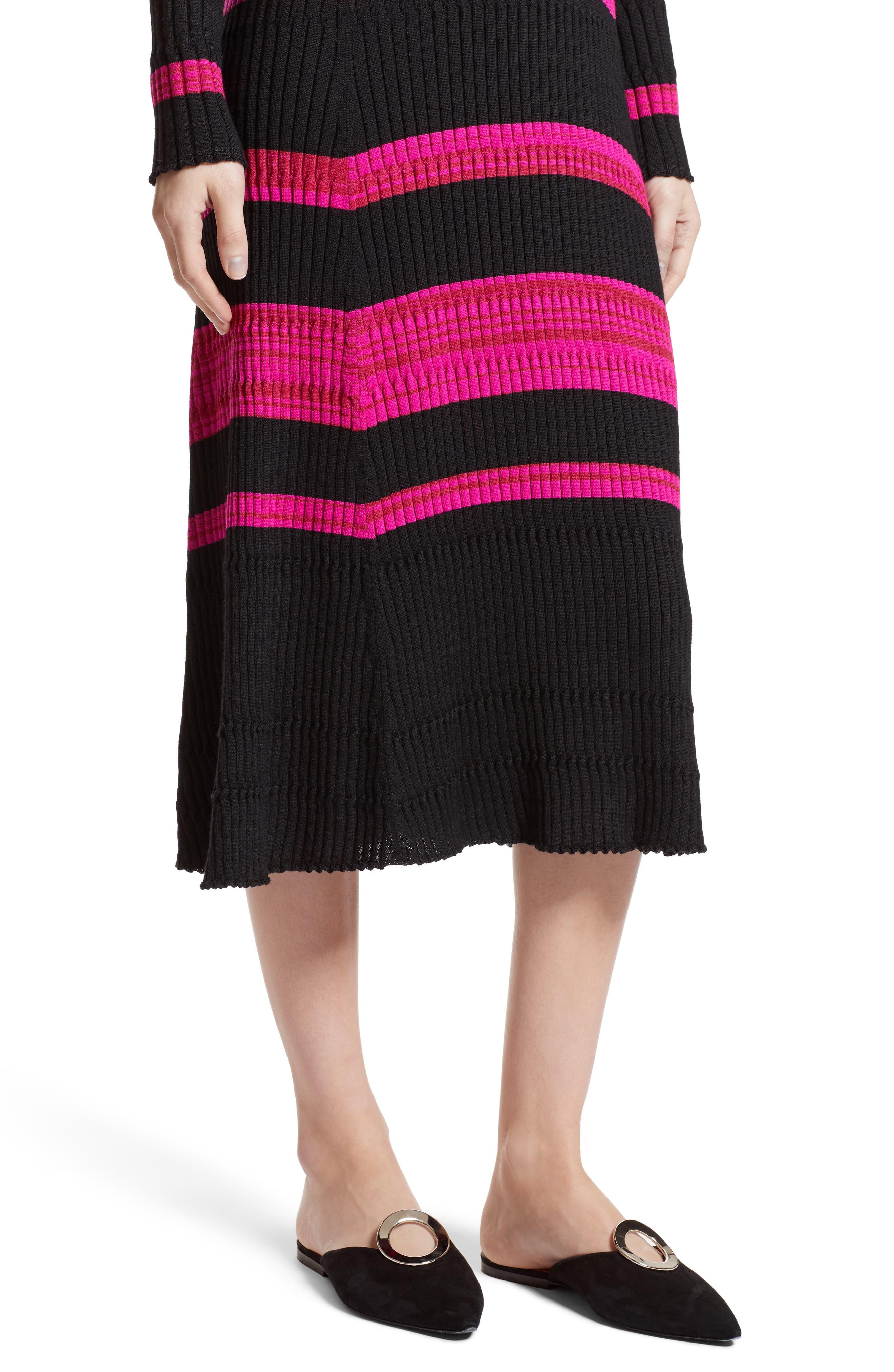 Stripe Cashmere, Wool & Silk Midi Dress,                             Alternate thumbnail 6, color,                             Black/ Electric Pink Multi