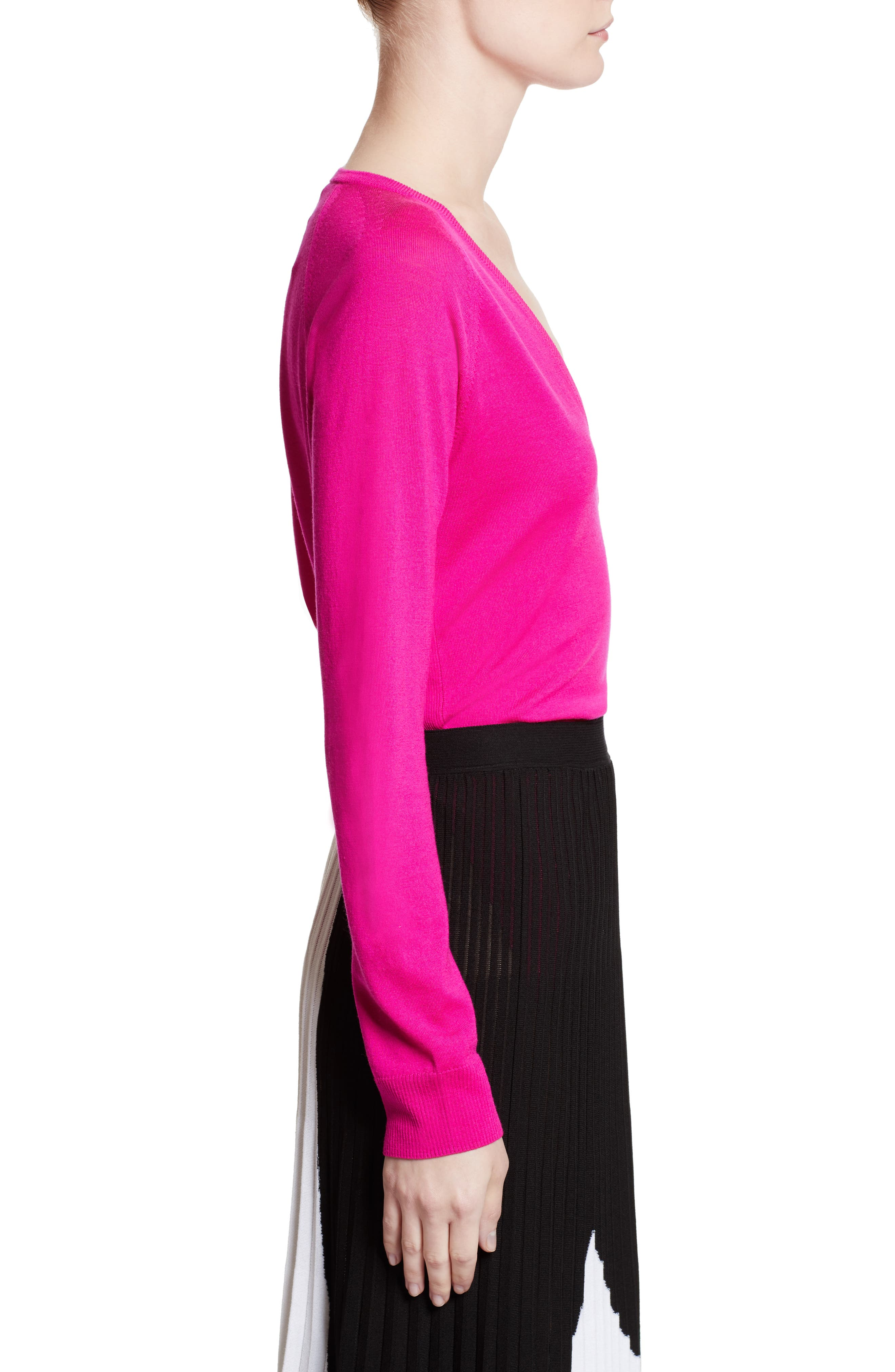 Plunging V-Neck Merino Wool Sweater,                             Alternate thumbnail 4, color,                             Electric Pink