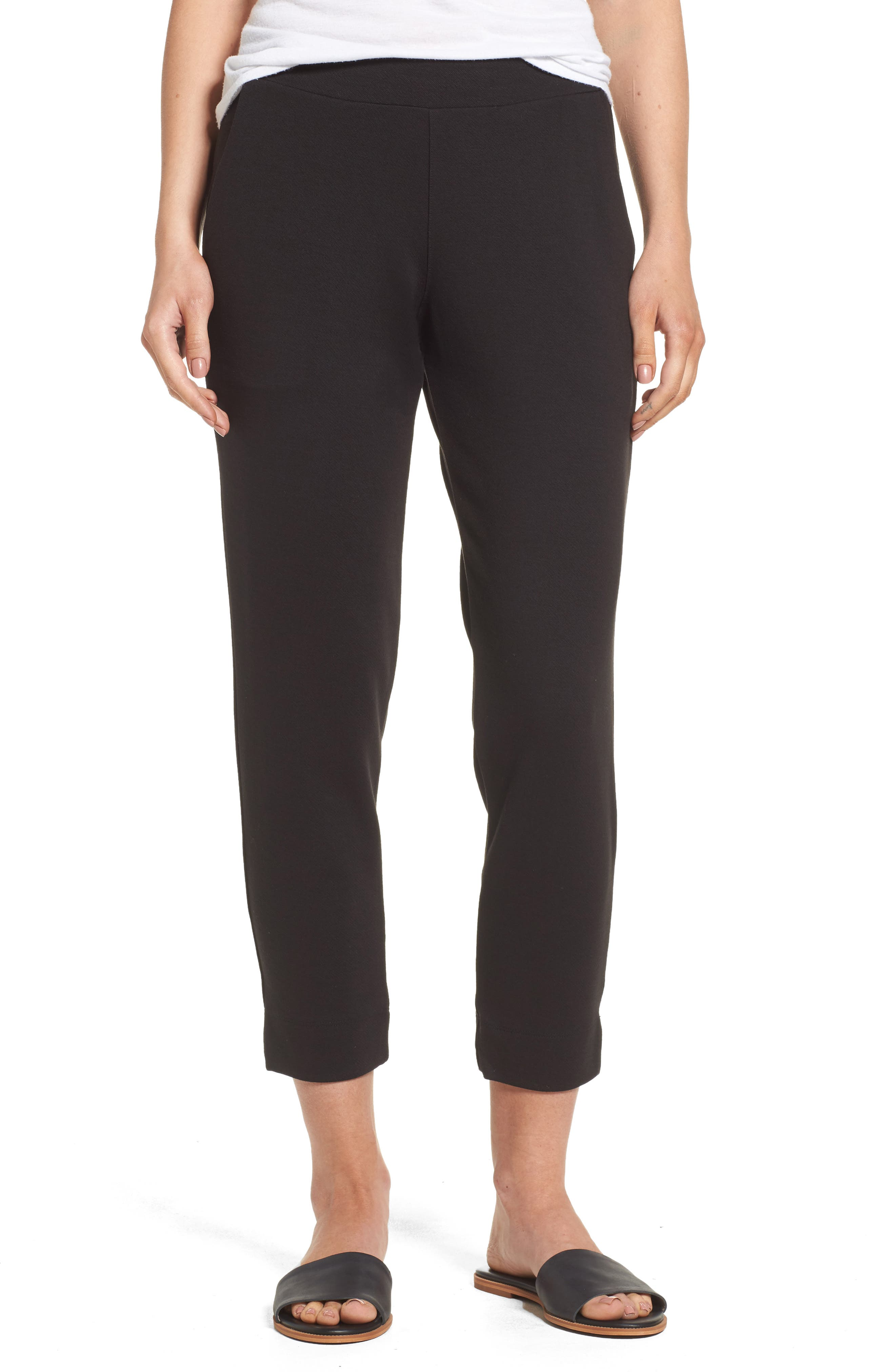 Brighton Crop Knit Cigarette Pants, Black