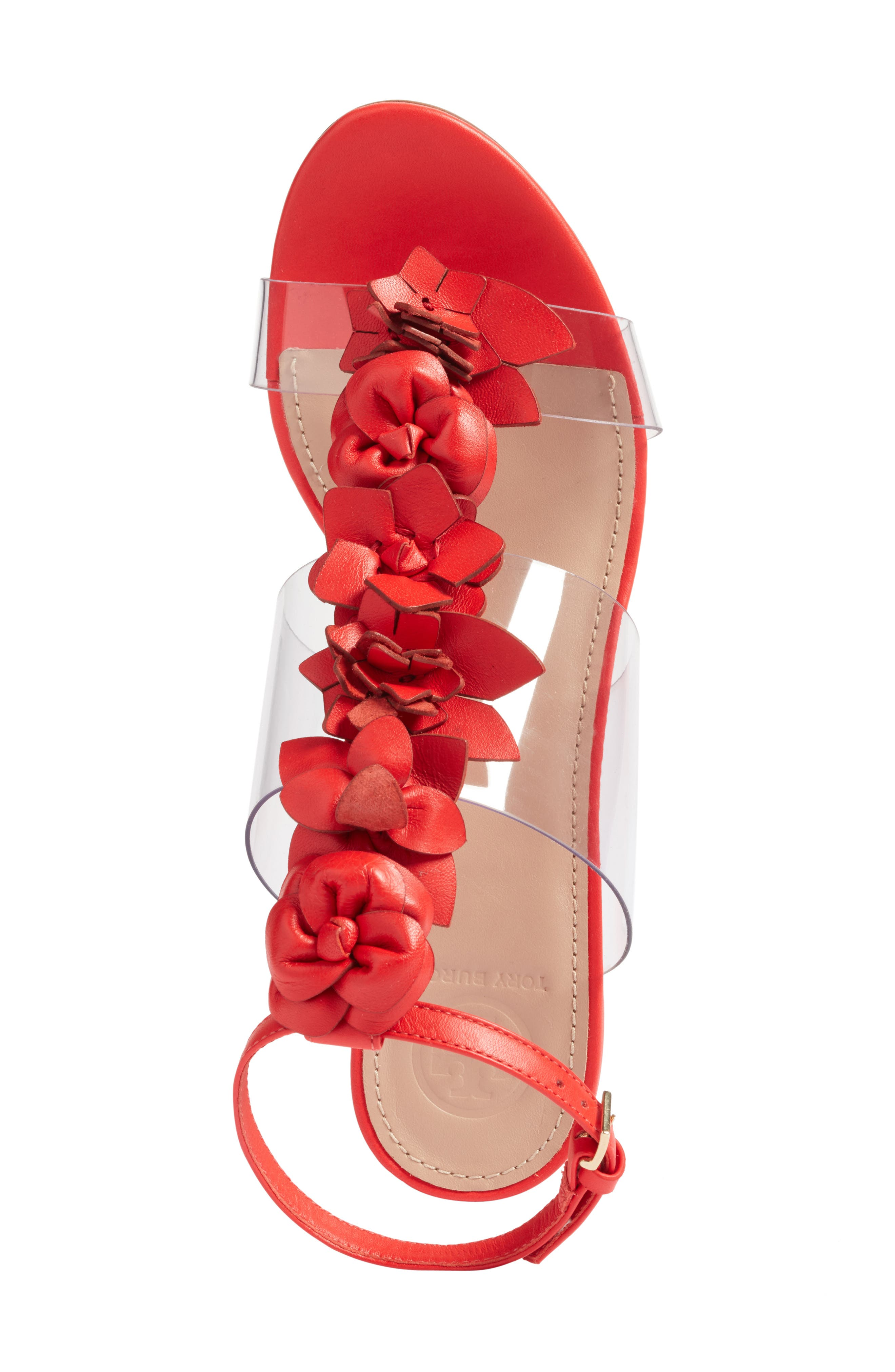 Blossom Sandal,                             Alternate thumbnail 2, color,                             Red Volcano/ Clear
