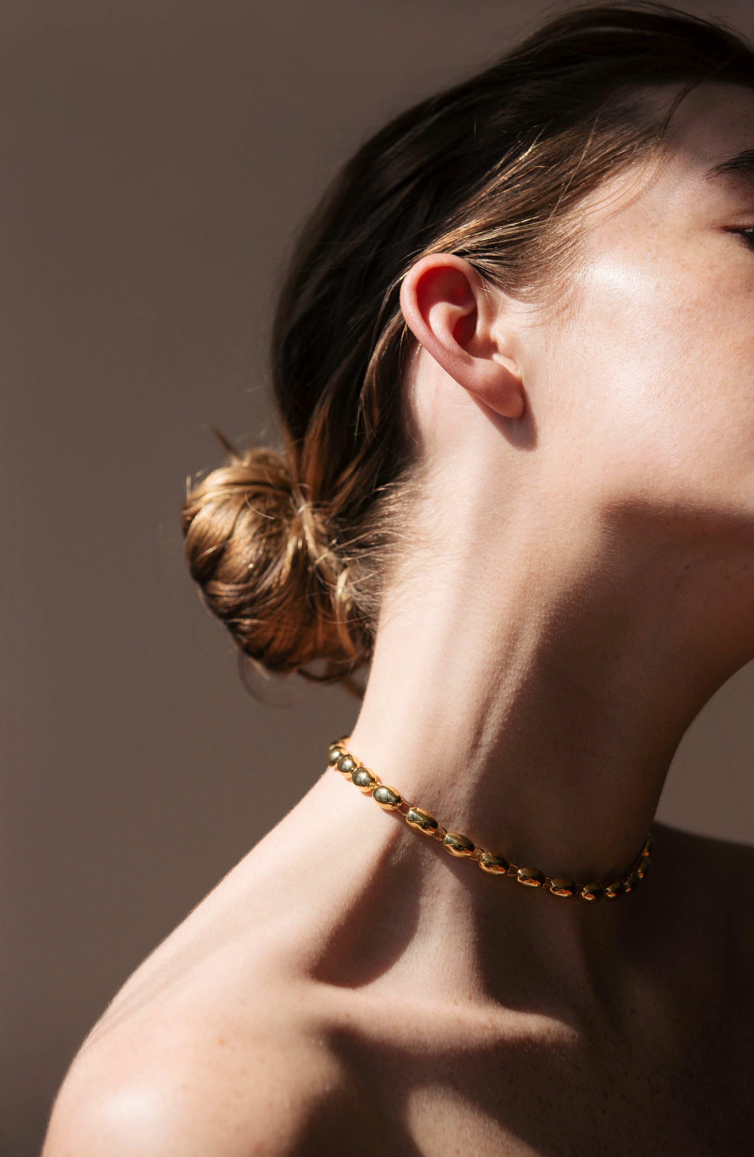 Rosa Blake Choker Necklace,                             Alternate thumbnail 3, color,                             Gold