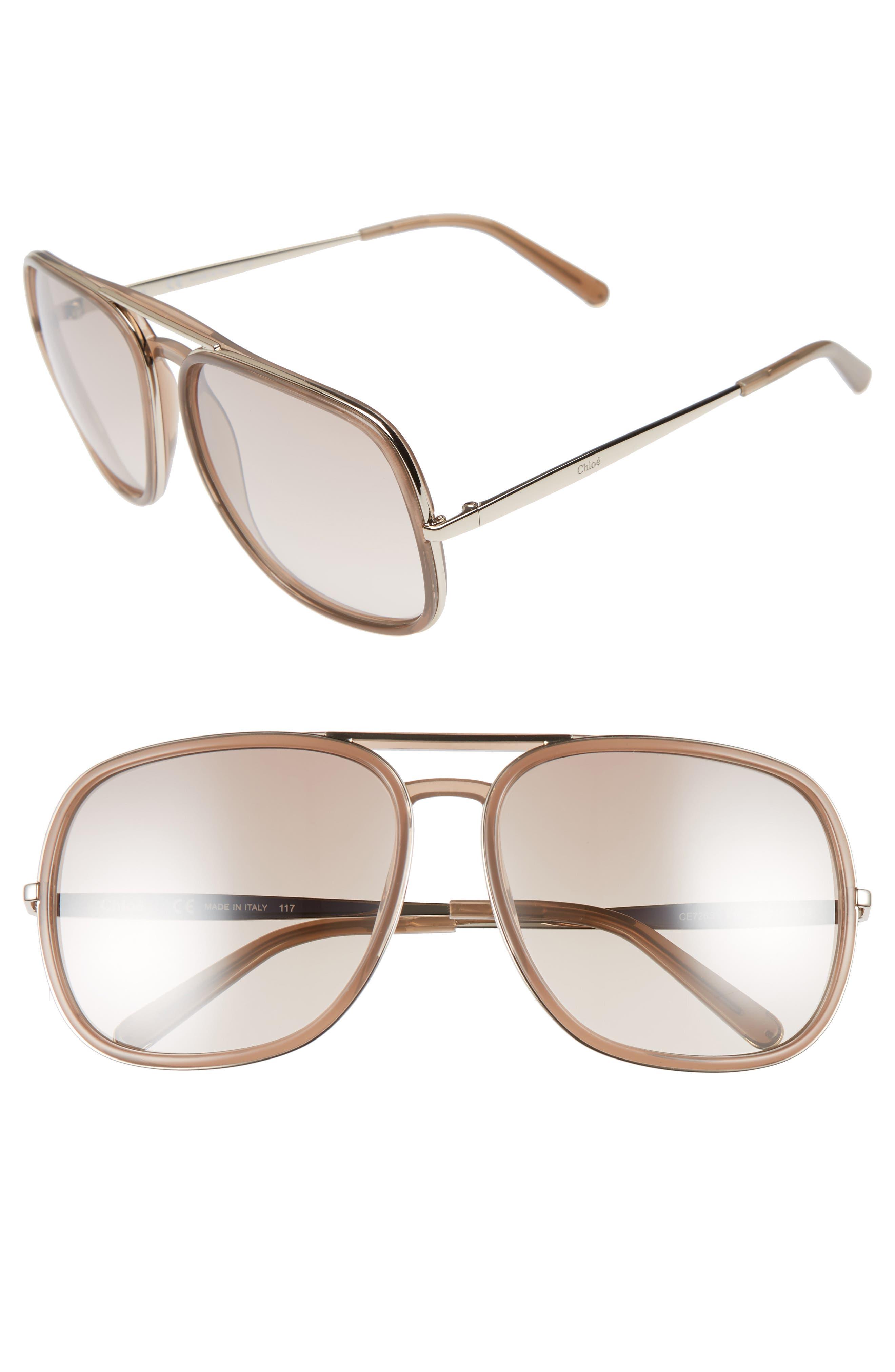 Alternate Image 1 Selected - Chloé 60mm Gradient Lens Navigator Sunglasses
