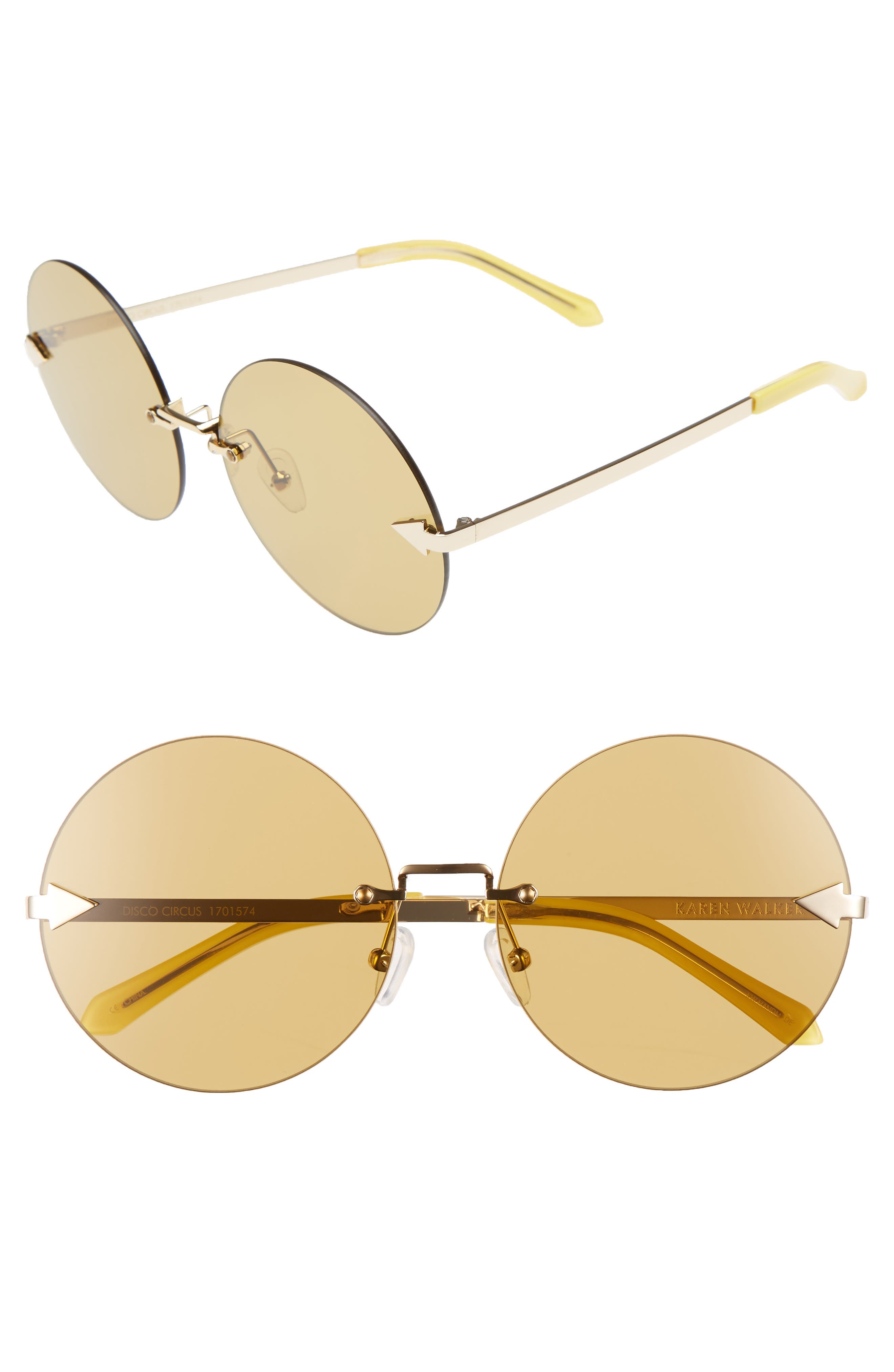 Karen Walker Disco Circus 60mm Rimless Round Sunglasses