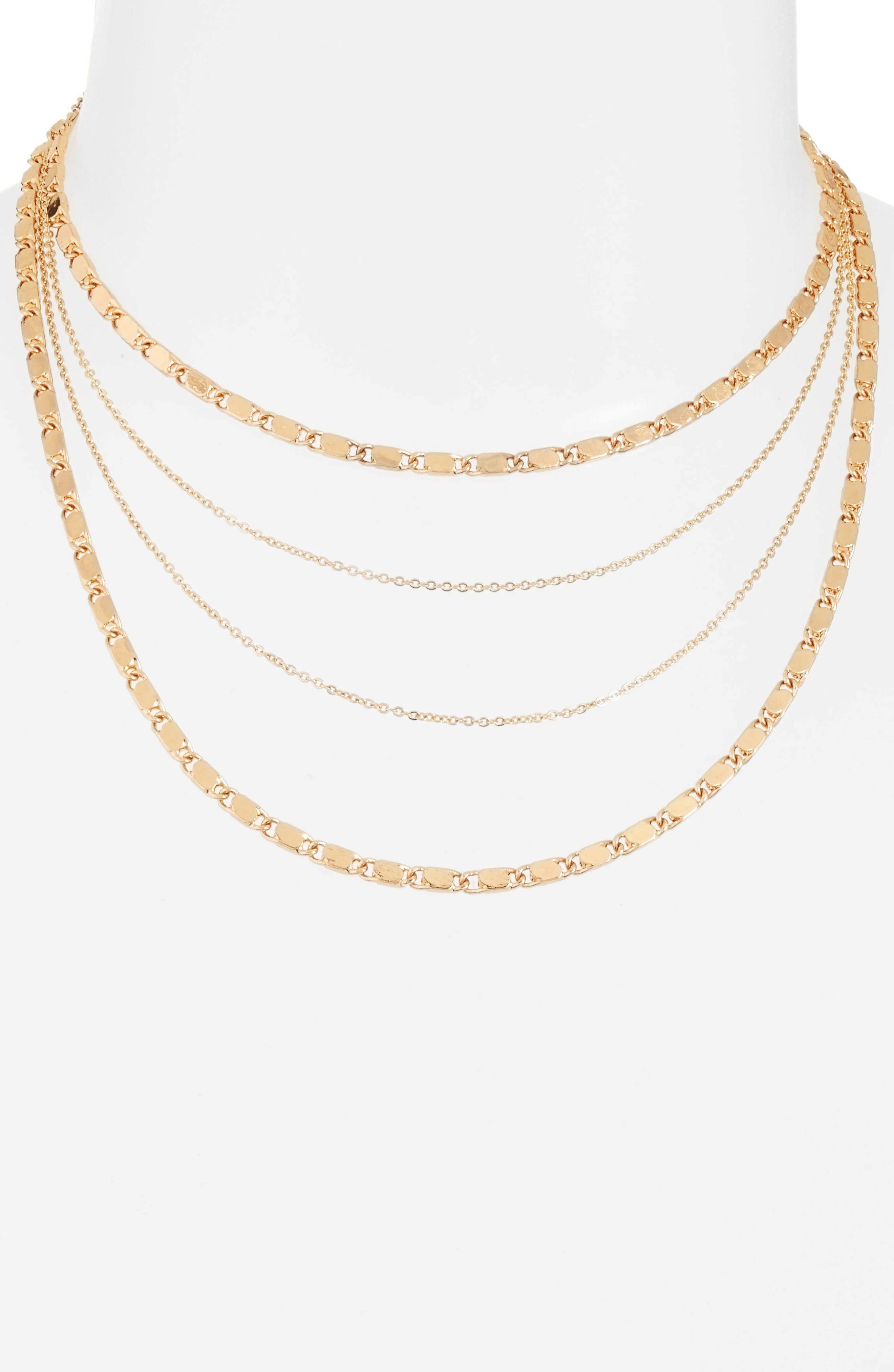 Eiffel Multirow Necklace,                         Main,                         color, Gold