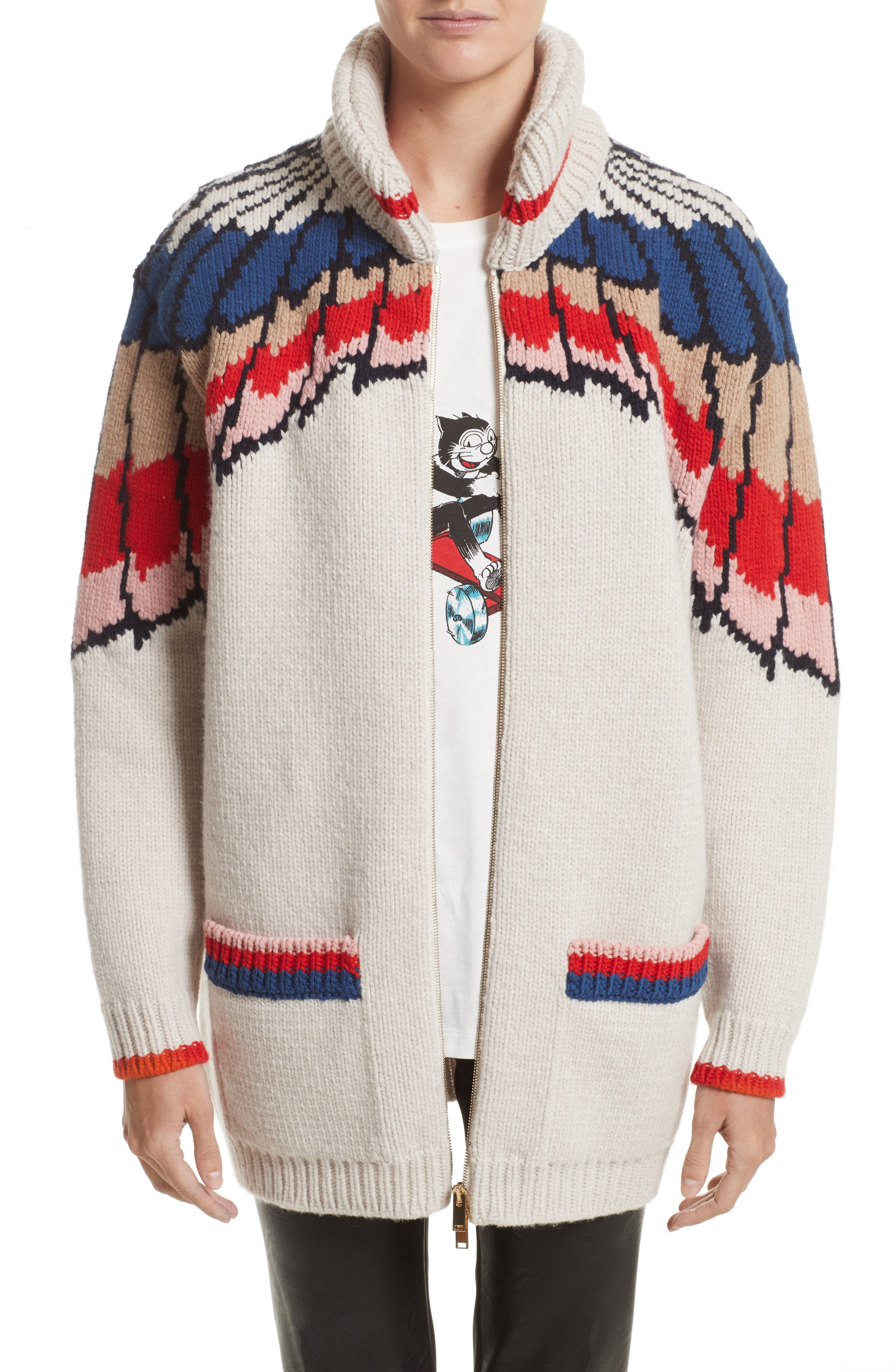 Feather Print Wool Cardigan,                             Main thumbnail 1, color,                             Multicolor