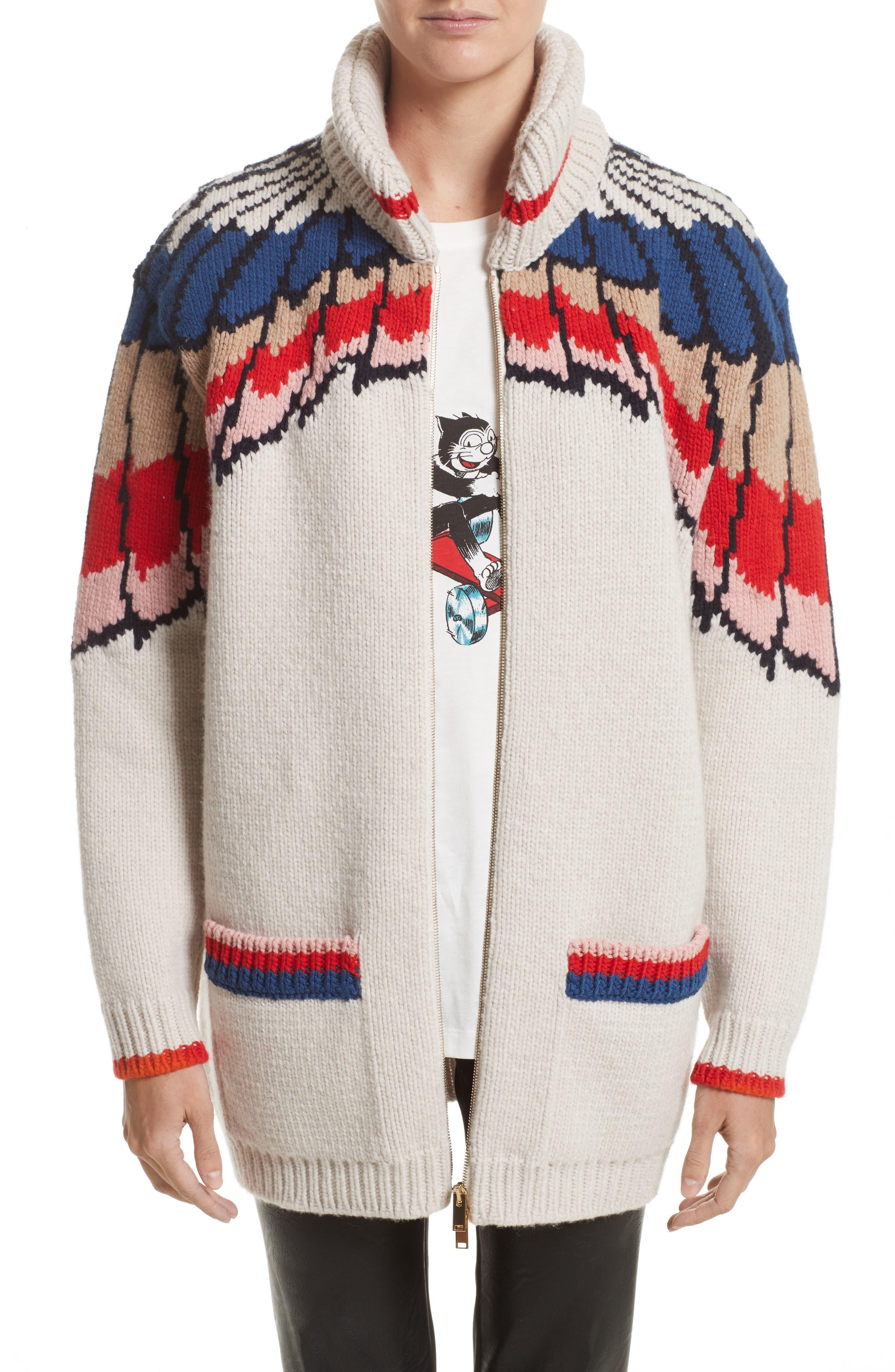 Stella McCartney Feather Print Wool Cardigan