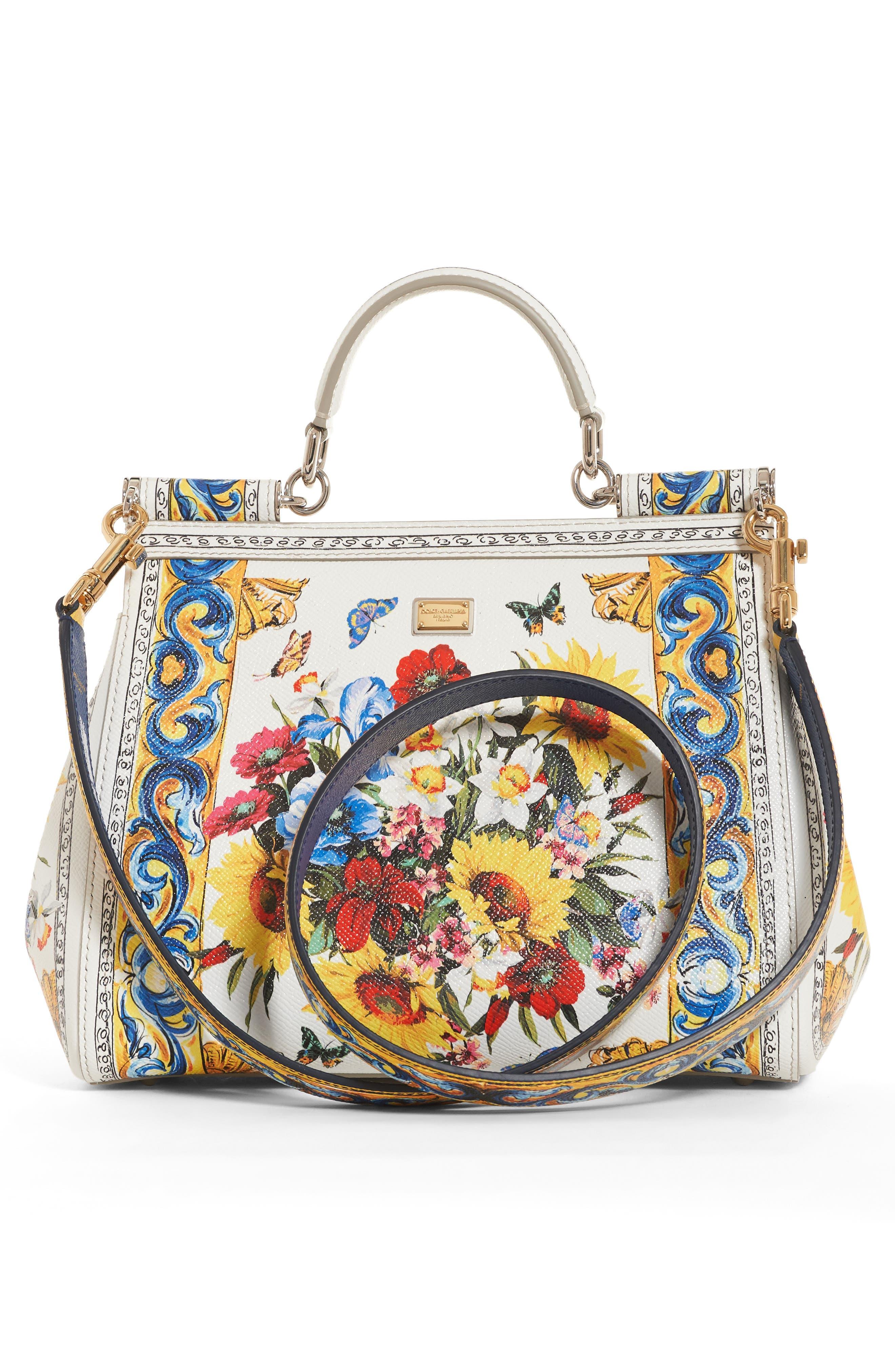 Alternate Image 2  - Dolce&Gabbana Medium Maiolica Fiori Sicily Leather Satchel