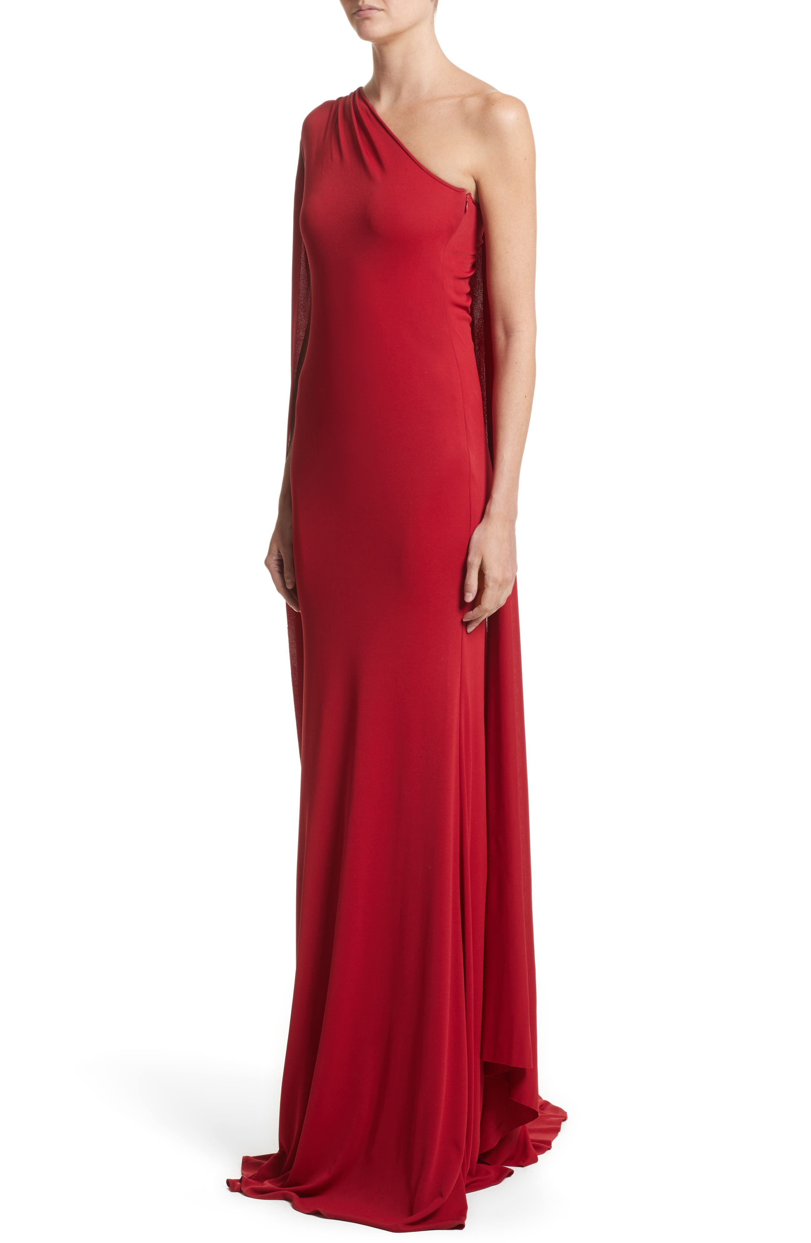 Alternate Image 4  - Naeem Khan One-Shoulder Stretch Jersey Gown
