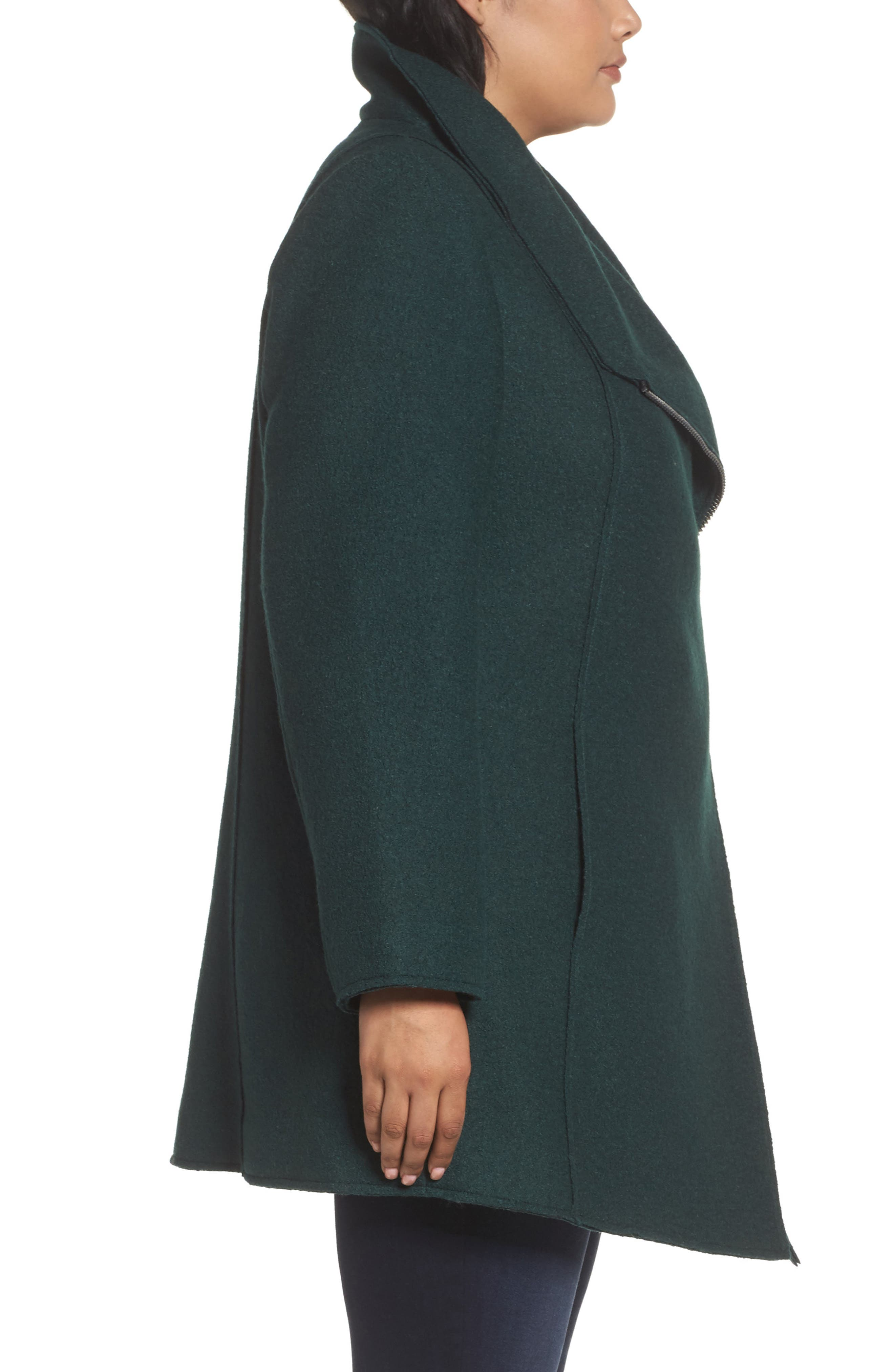 Asymmetrical Zip Boiled Wool Blend Coat,                             Alternate thumbnail 3, color,                             Green Ponderosa
