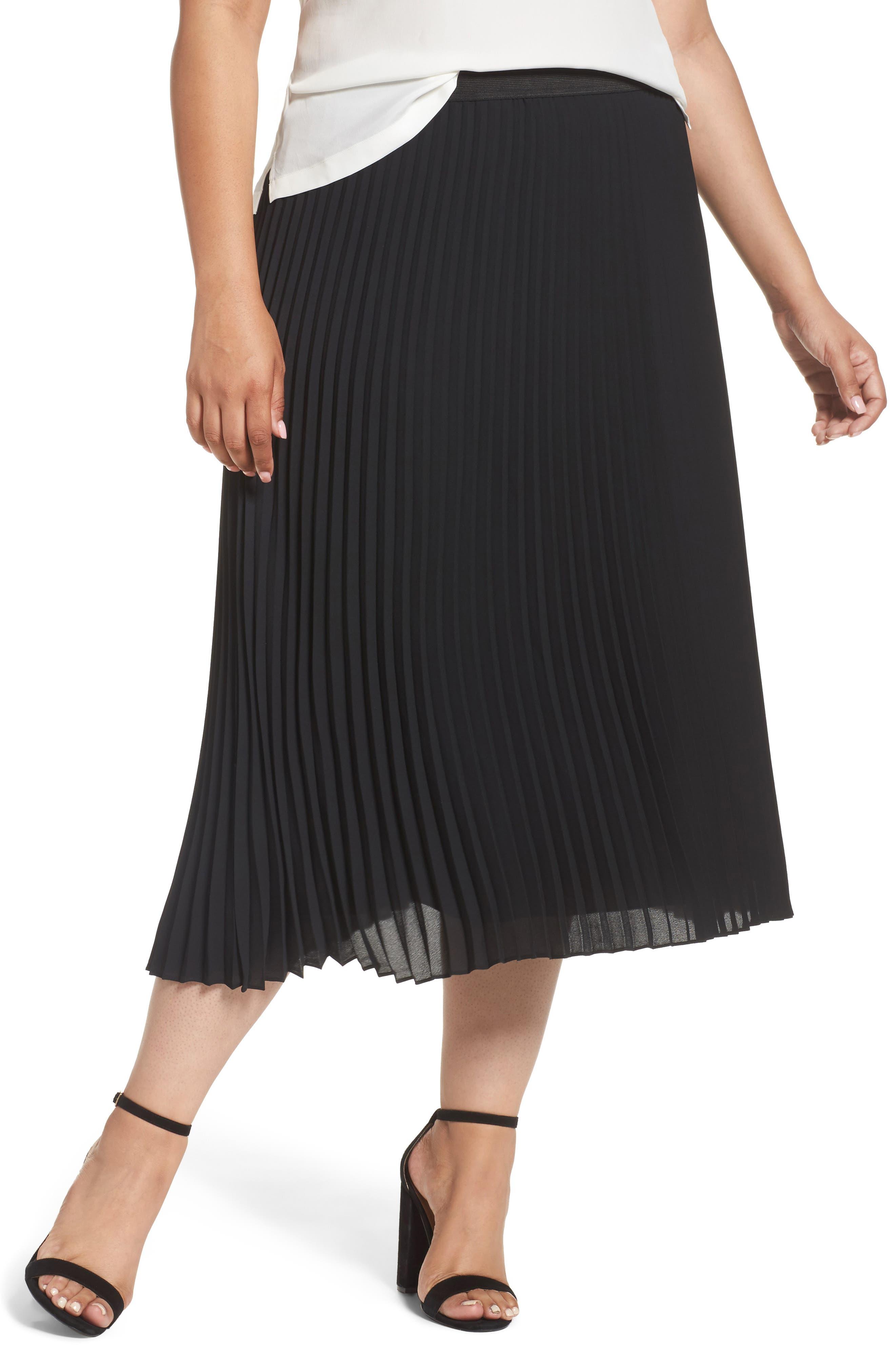 Main Image - Sejour Pleated Midi Skirt (Plus Size)