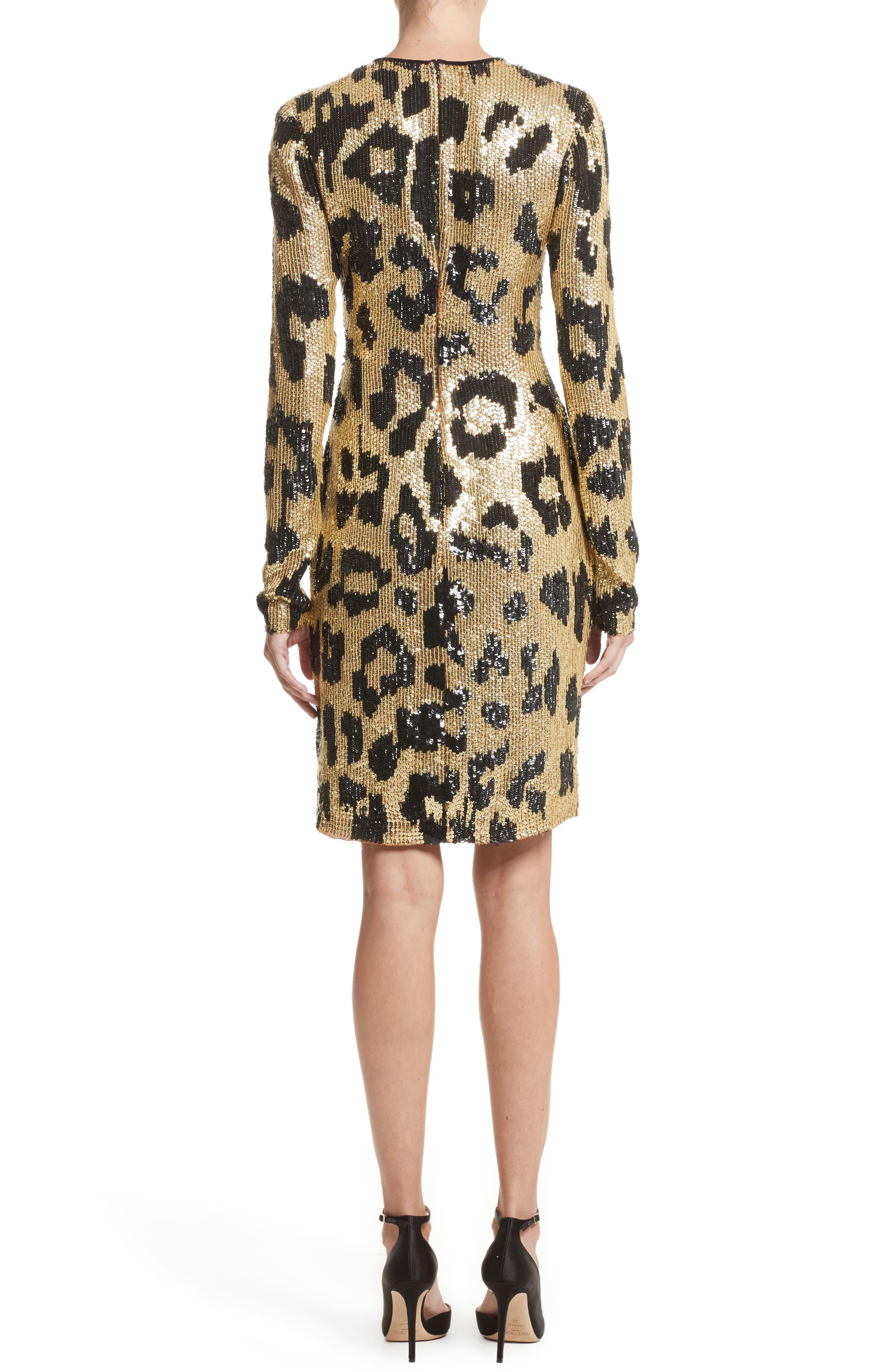 Alternate Image 2  - Naeem Khan Cheetah Print Sequin Sheath Dress
