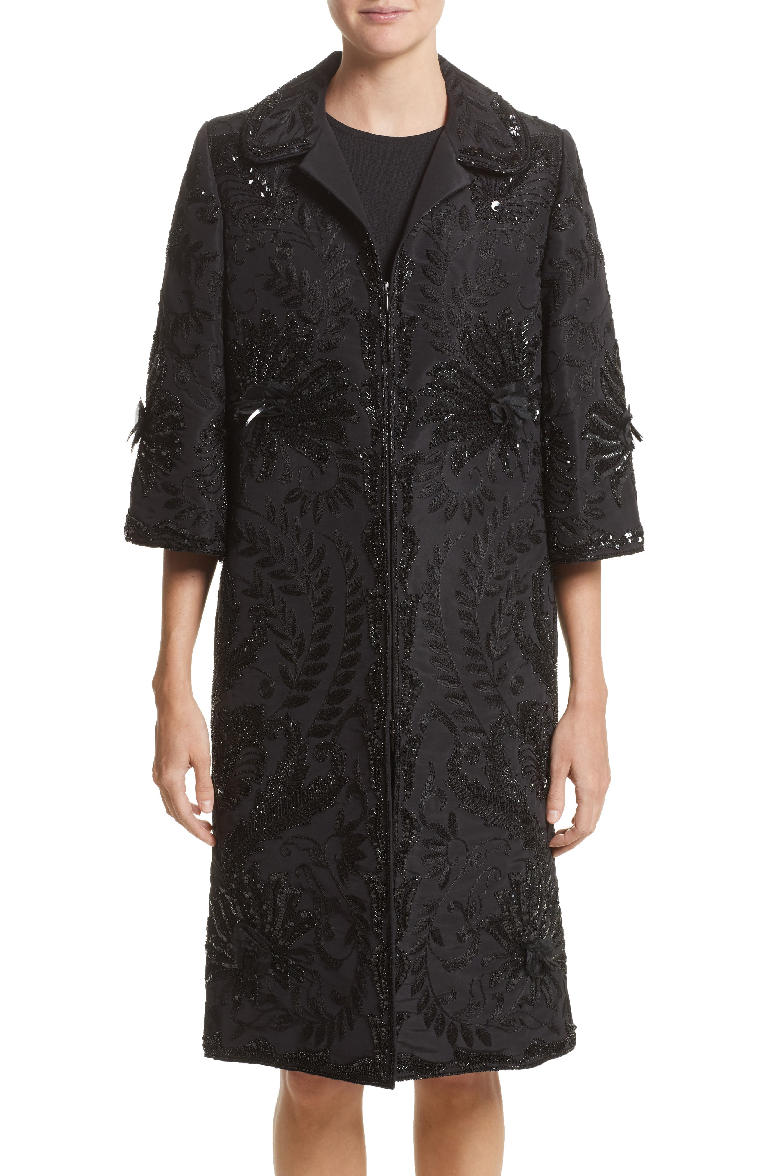 Naeem Khan Embellished Silk Evening Coat