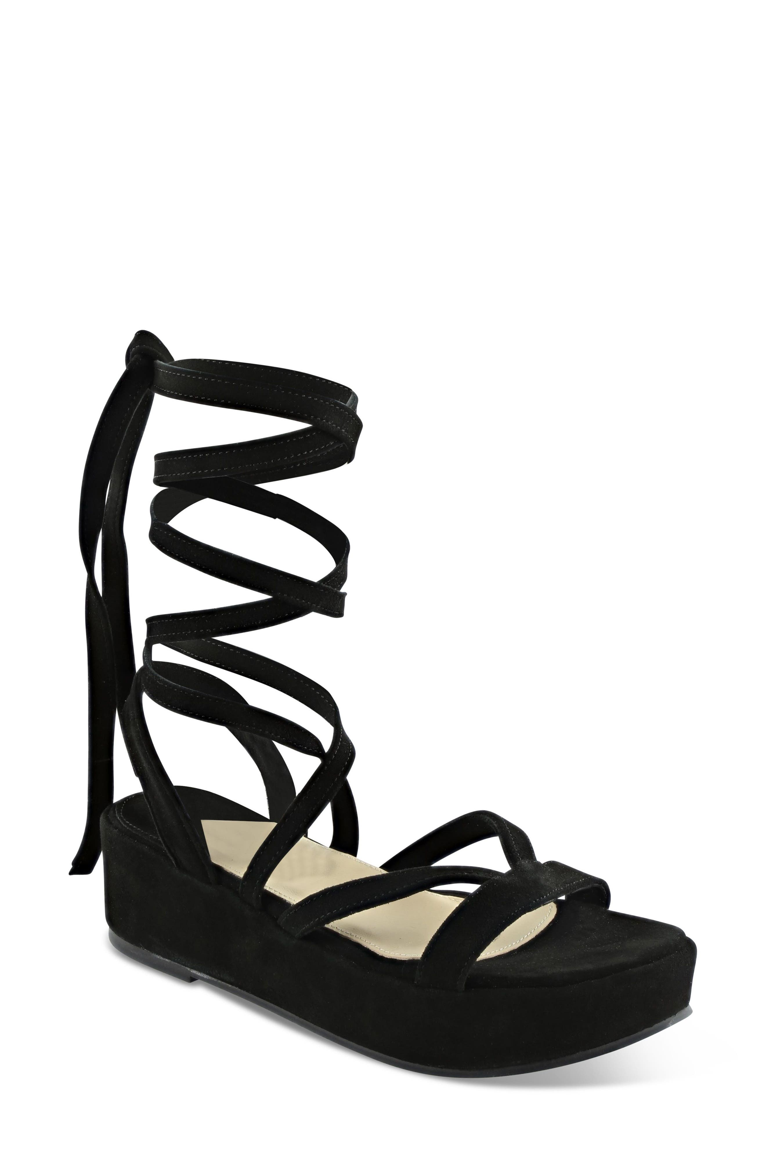 Keri Gladiator Platform Sandal,                             Main thumbnail 1, color,                             Black Suede