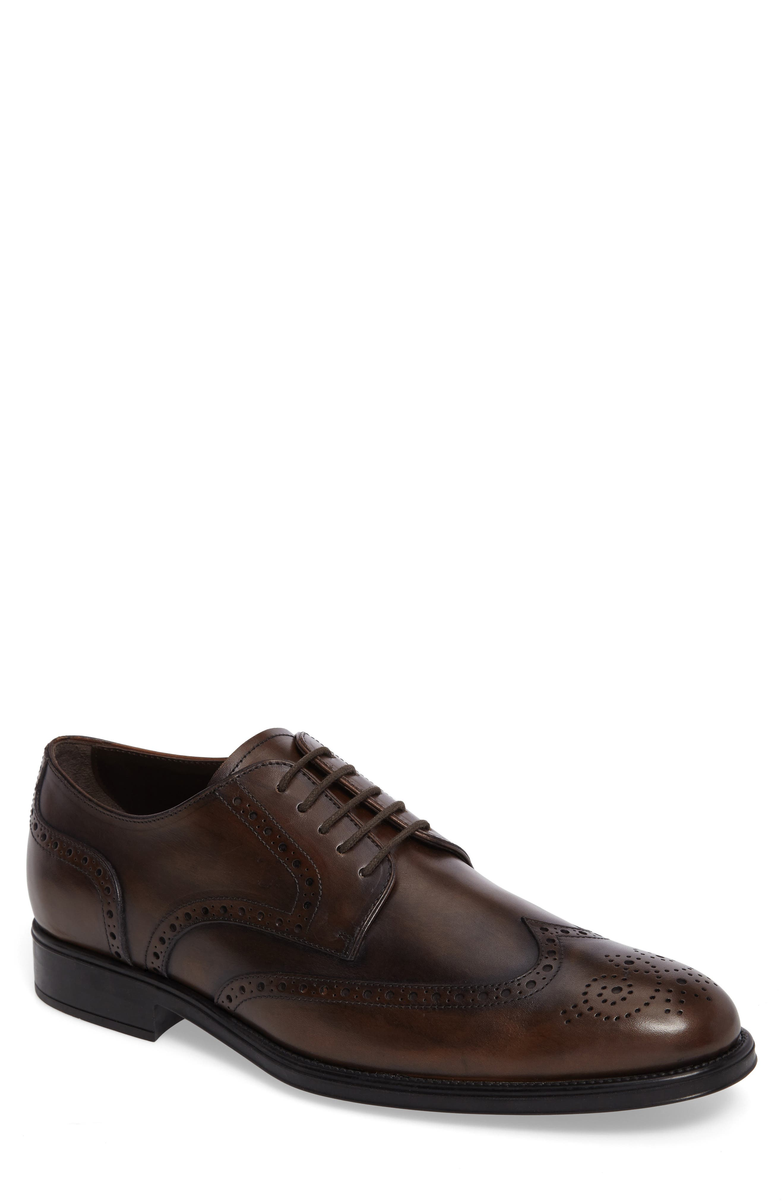 Wingtip,                         Main,                         color, Brown Leather