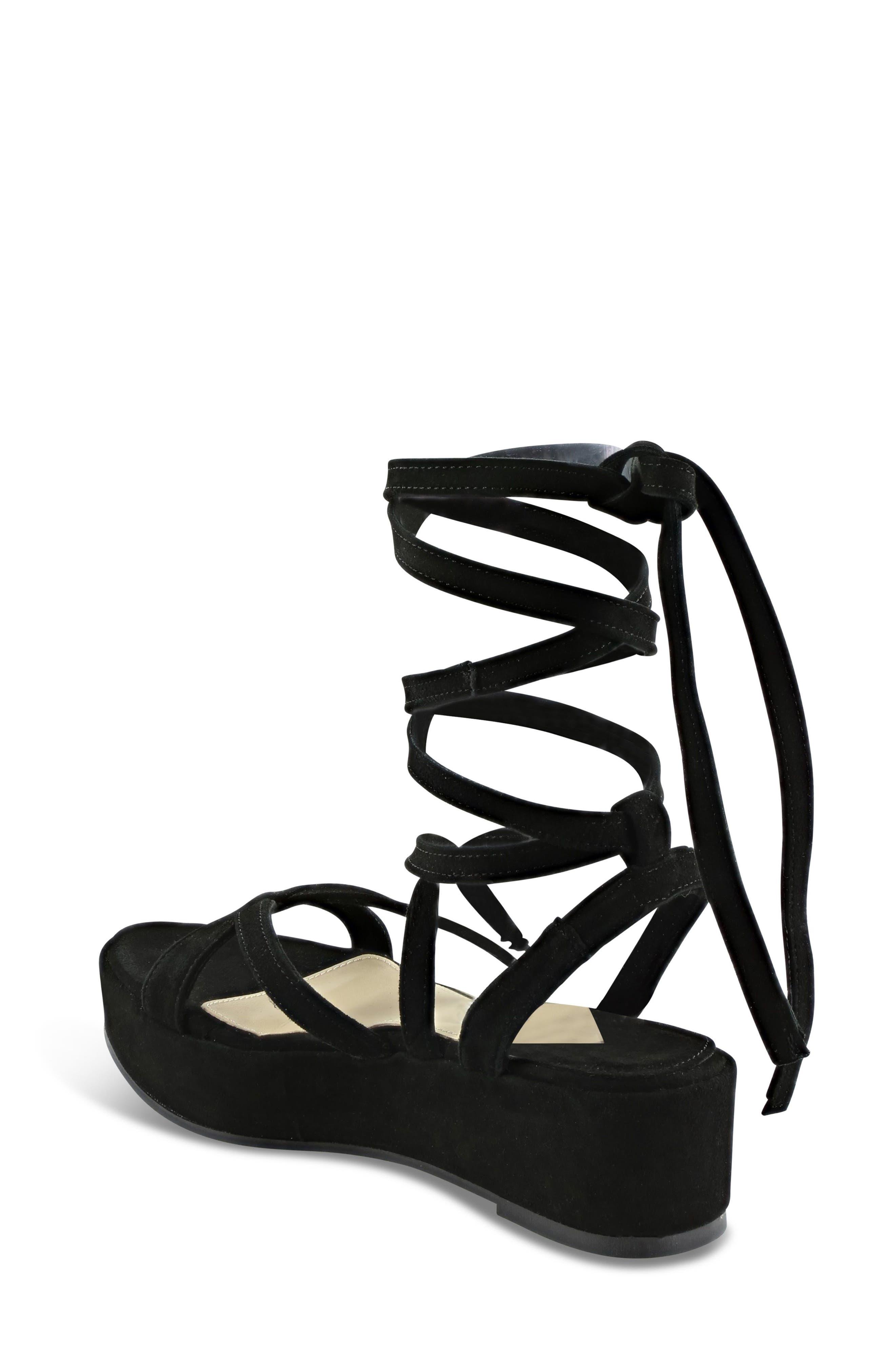 Keri Gladiator Platform Sandal,                             Alternate thumbnail 2, color,                             Black Suede