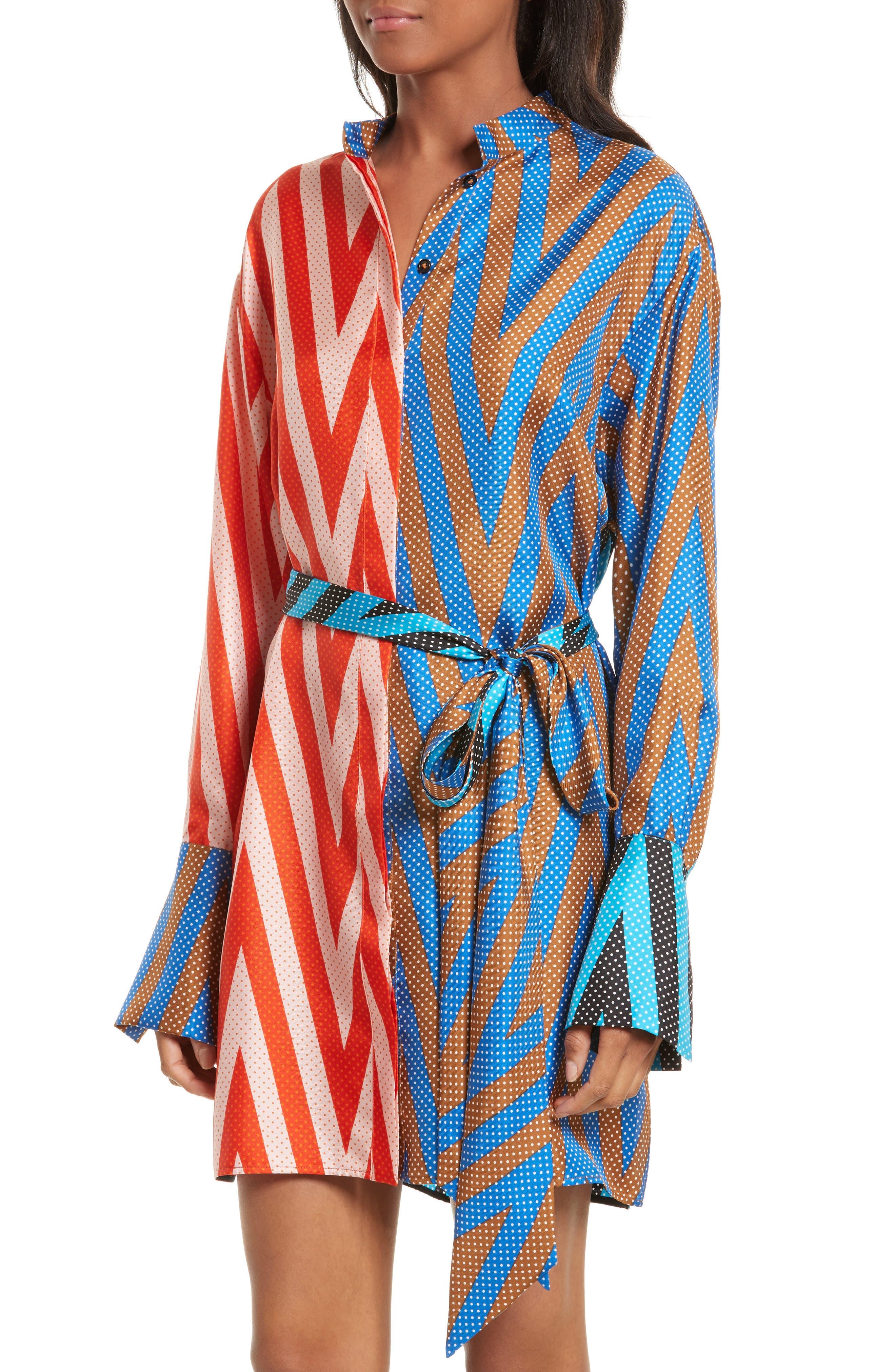 Bell Sleeve Silk Shirtdress,                             Alternate thumbnail 4, color,                             Odeon Chevron