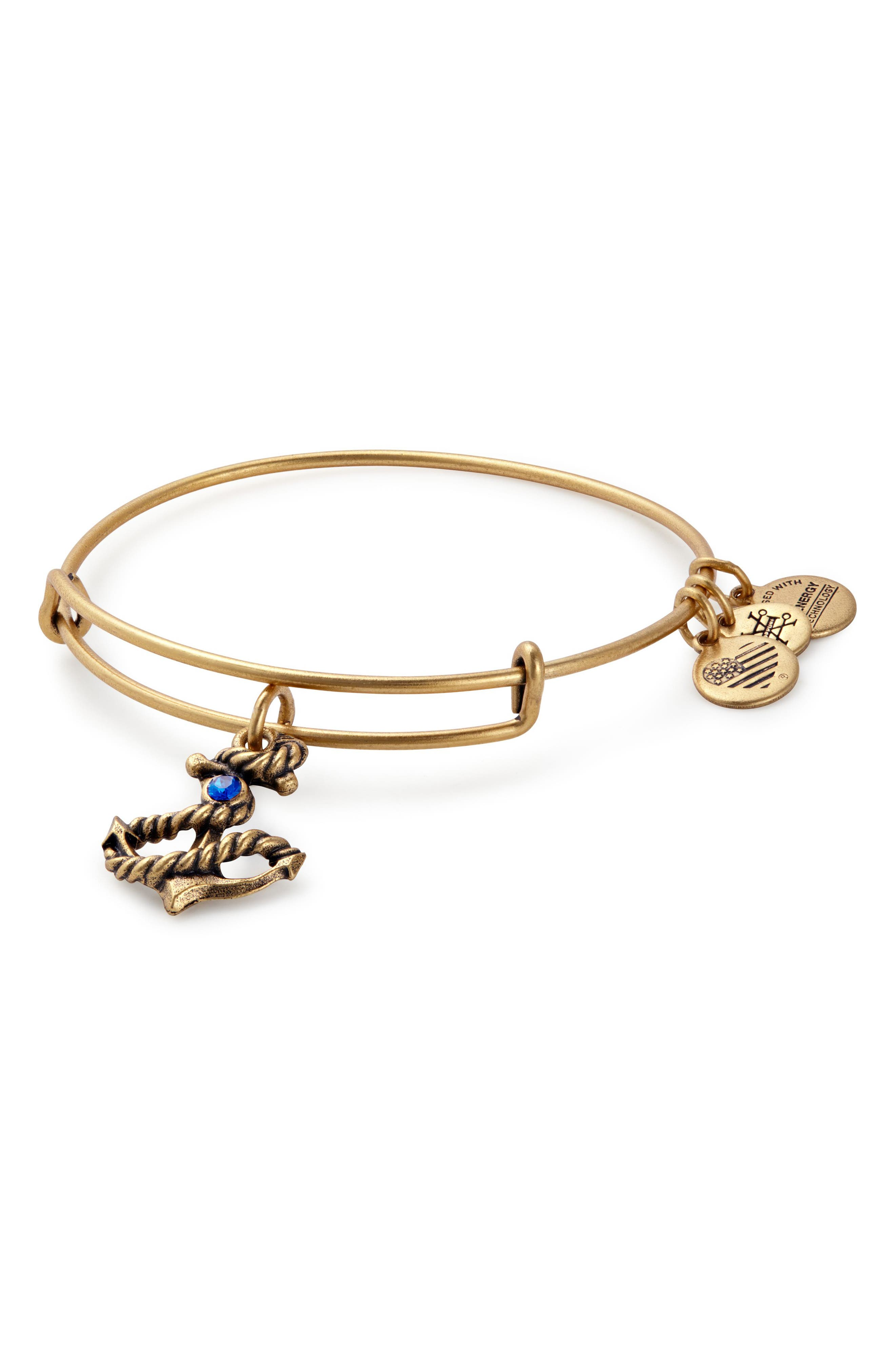 Anchor Adjustable Wire Bangle,                         Main,                         color, Gold