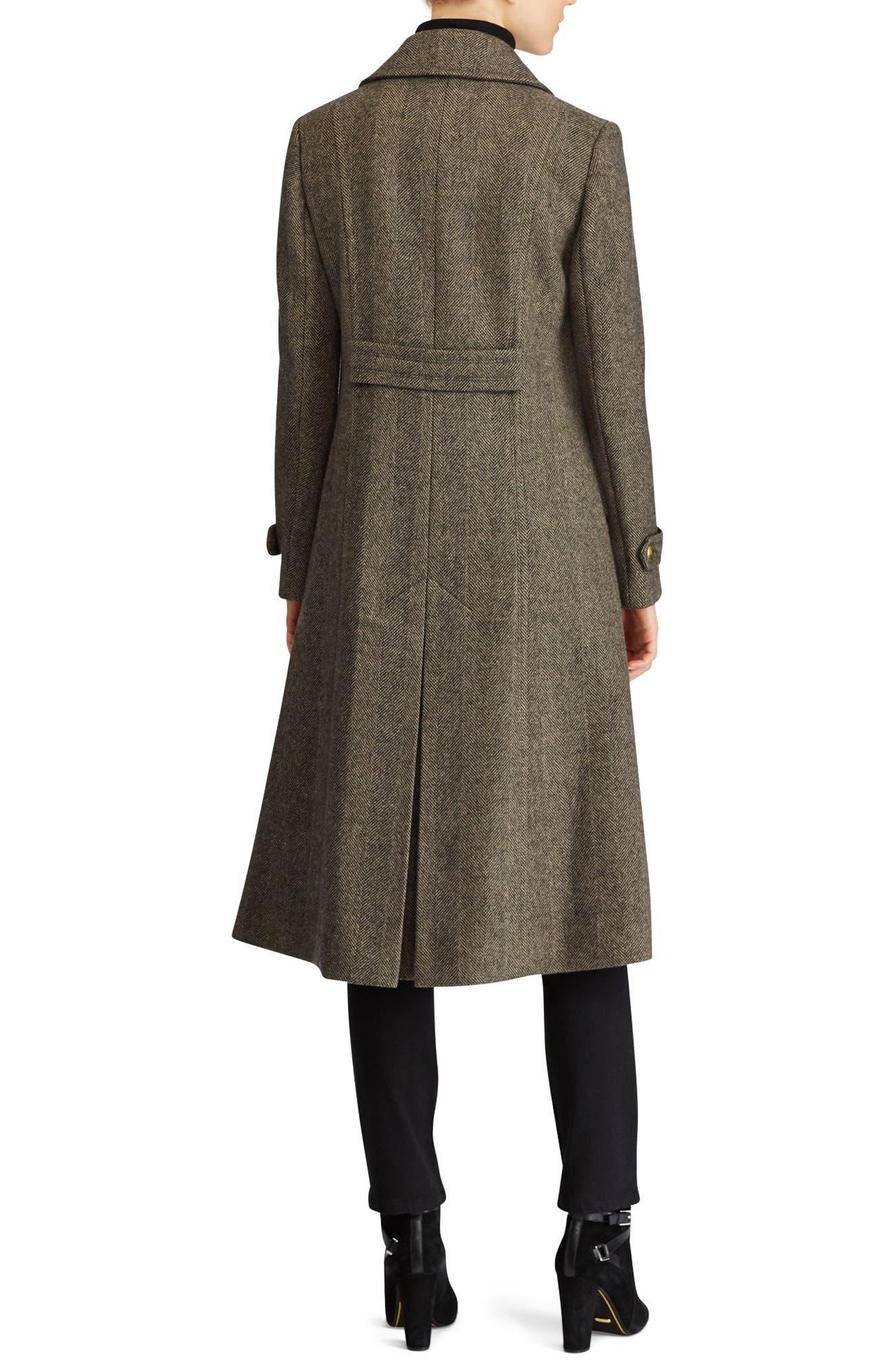 Alternate Image 2  - Lauren Ralph Lauren Herringbone Wool Blend Long Military Coat