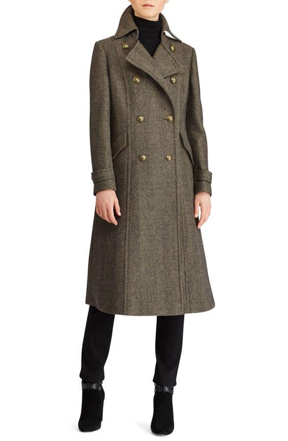 Lauren Ralph Lauren Herringbone Wool Blend Long Military Coat ...