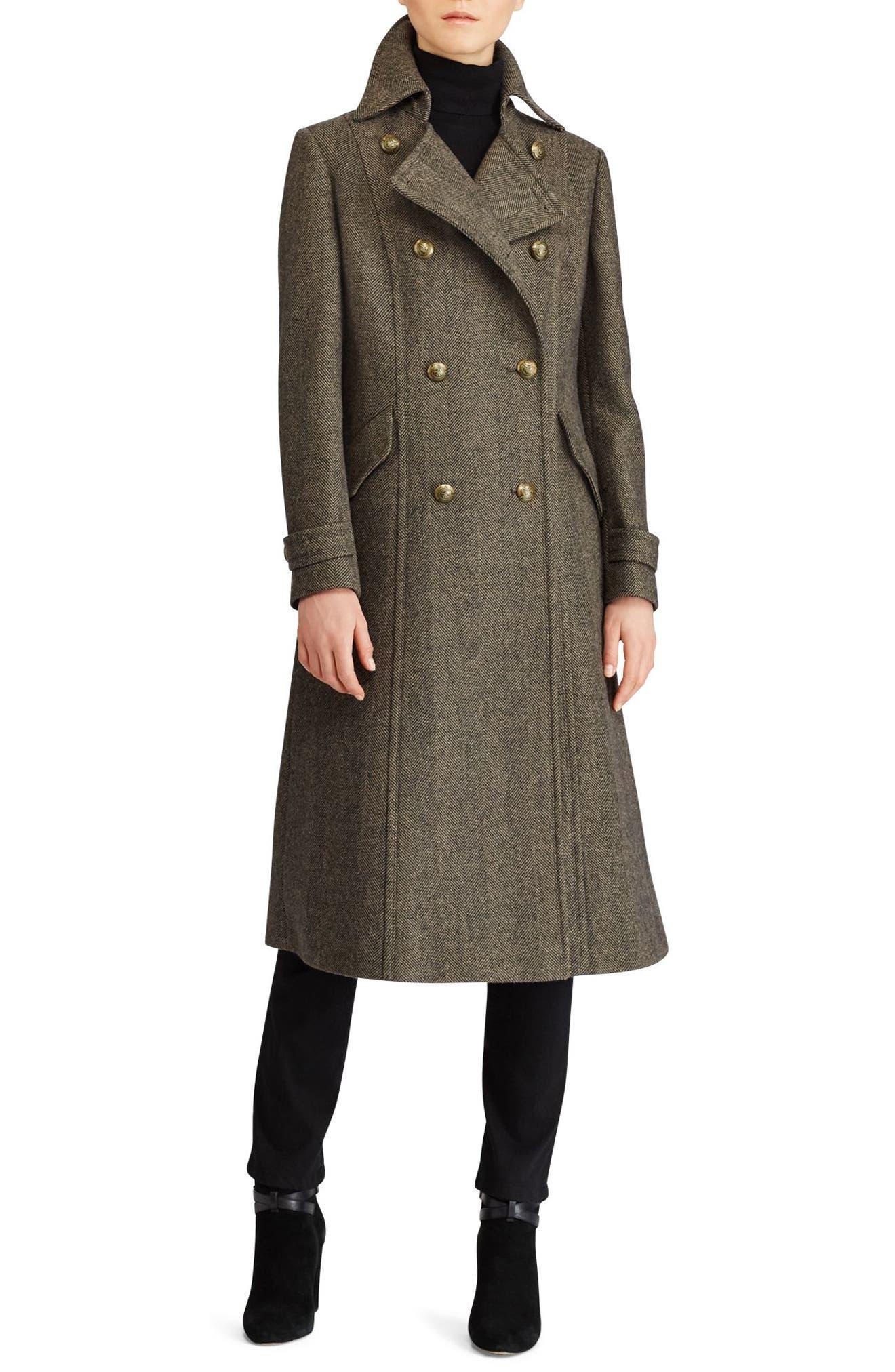 Lauren Ralph Lauren Herringbone Wool Blend Long Military Coat