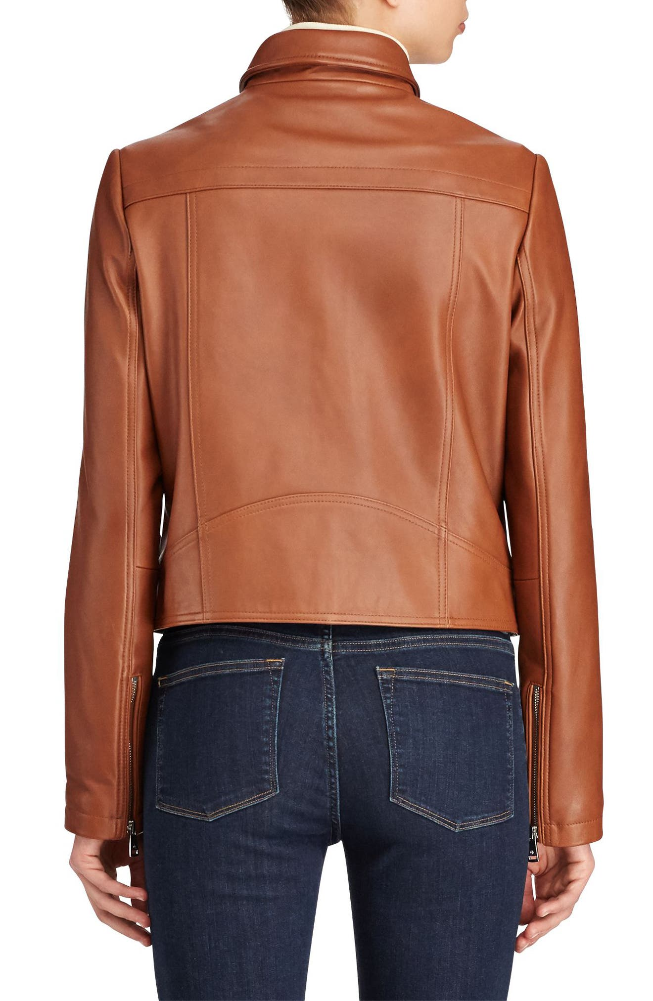 Shirt Collar Leather Jacket,                             Alternate thumbnail 3, color,                             Cuoio