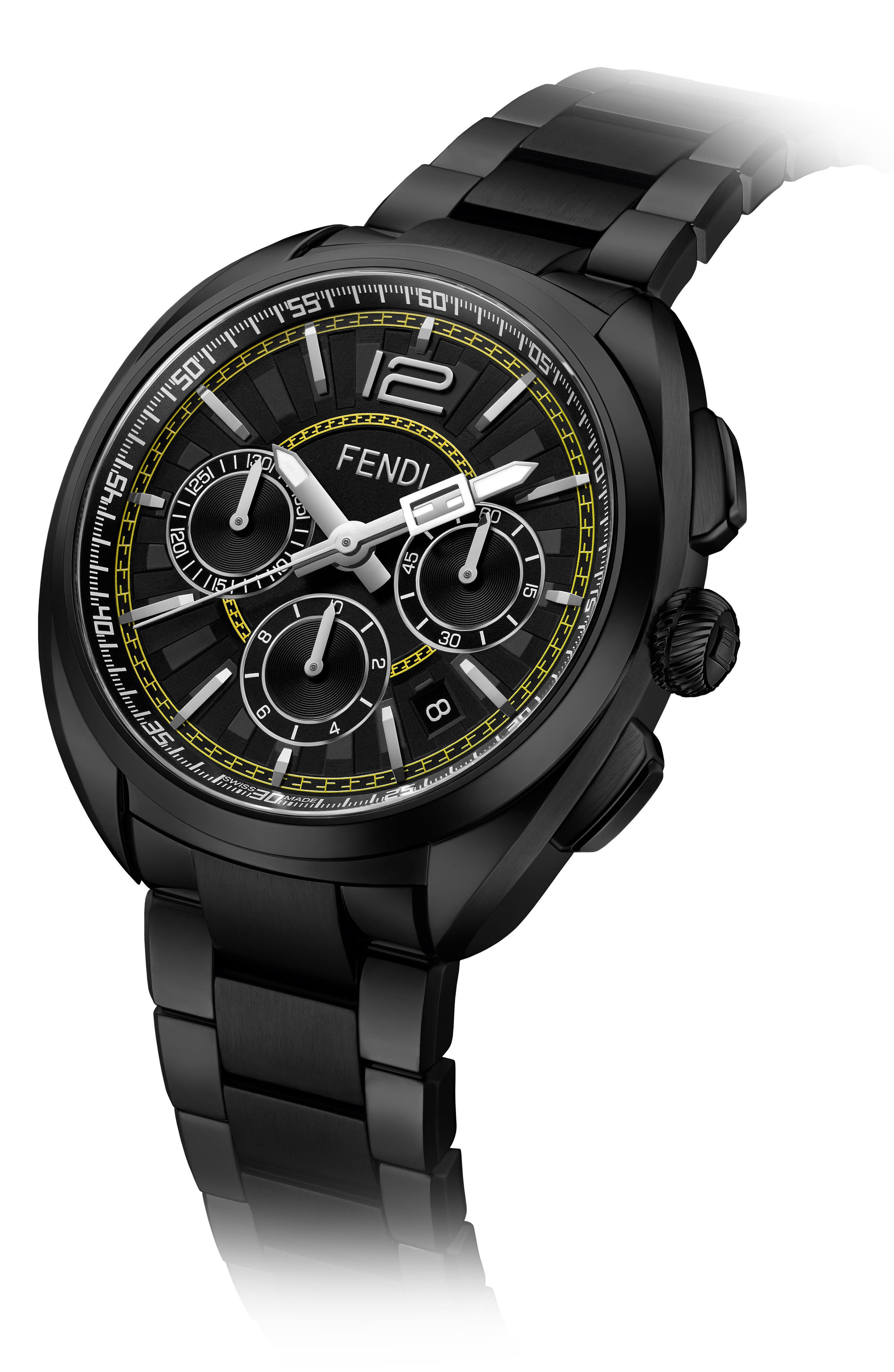 Momento Chronograph Bracelet Watch, 46mm,                             Alternate thumbnail 2, color,                             Black