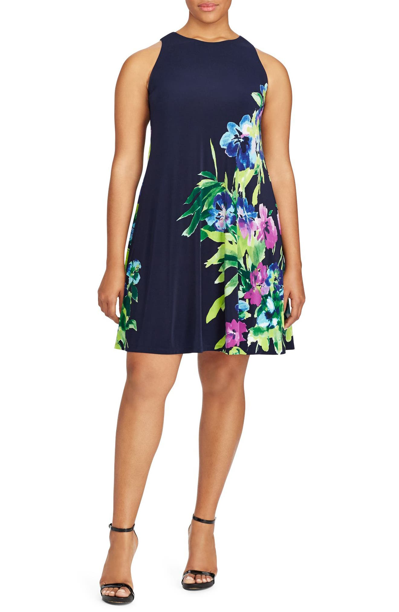 Lauren Ralph Lauren Floral Jersey A-Line Dress (Plus Size)