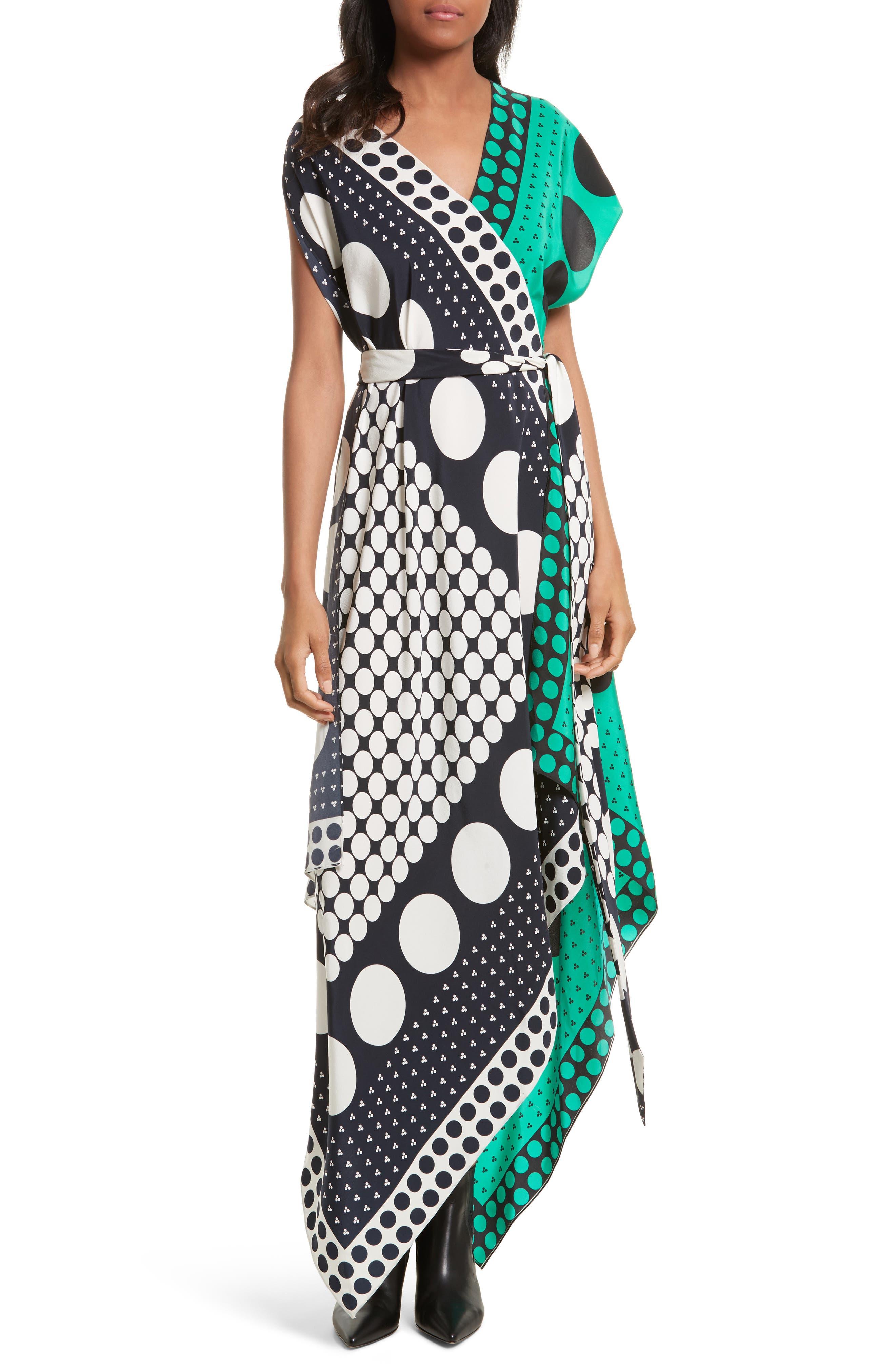 Asymmetrical Scarf Maxi Dress,                         Main,                         color, Brunel Navy/ Evergreen