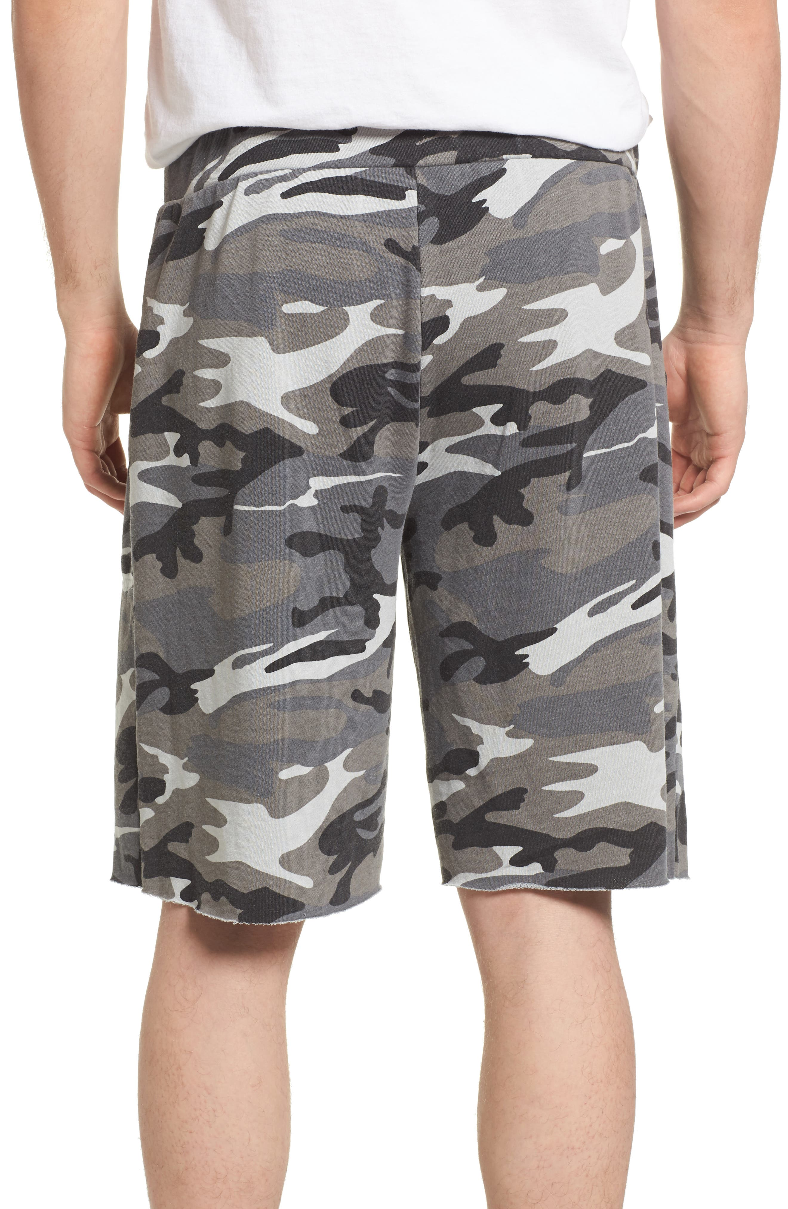 'Victory' Camo French Terry Knit Cutoff Shorts,                             Alternate thumbnail 2, color,                             Grey Camo Burnout