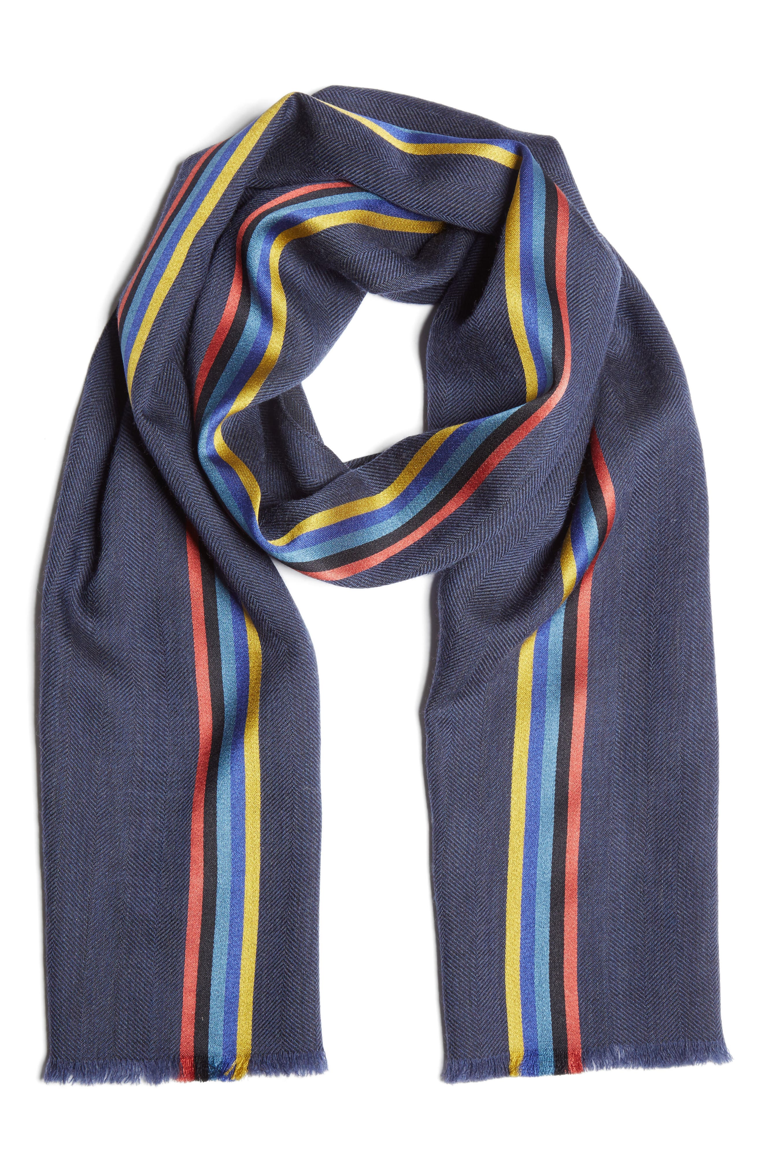 Central Stripe Wool & Silk Scarf,                             Main thumbnail 1, color,                             Blue