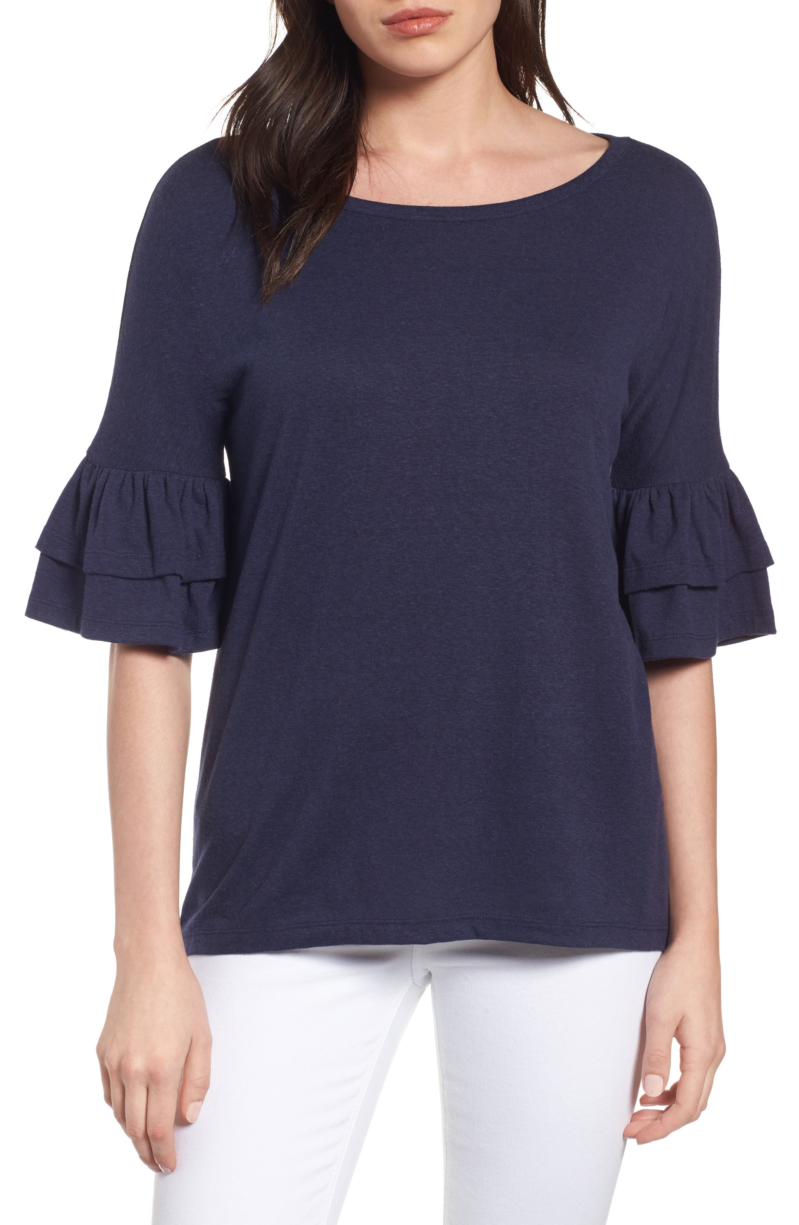 Tiered Bell Sleeve Tee,                         Main,                         color, Navy Peacoat