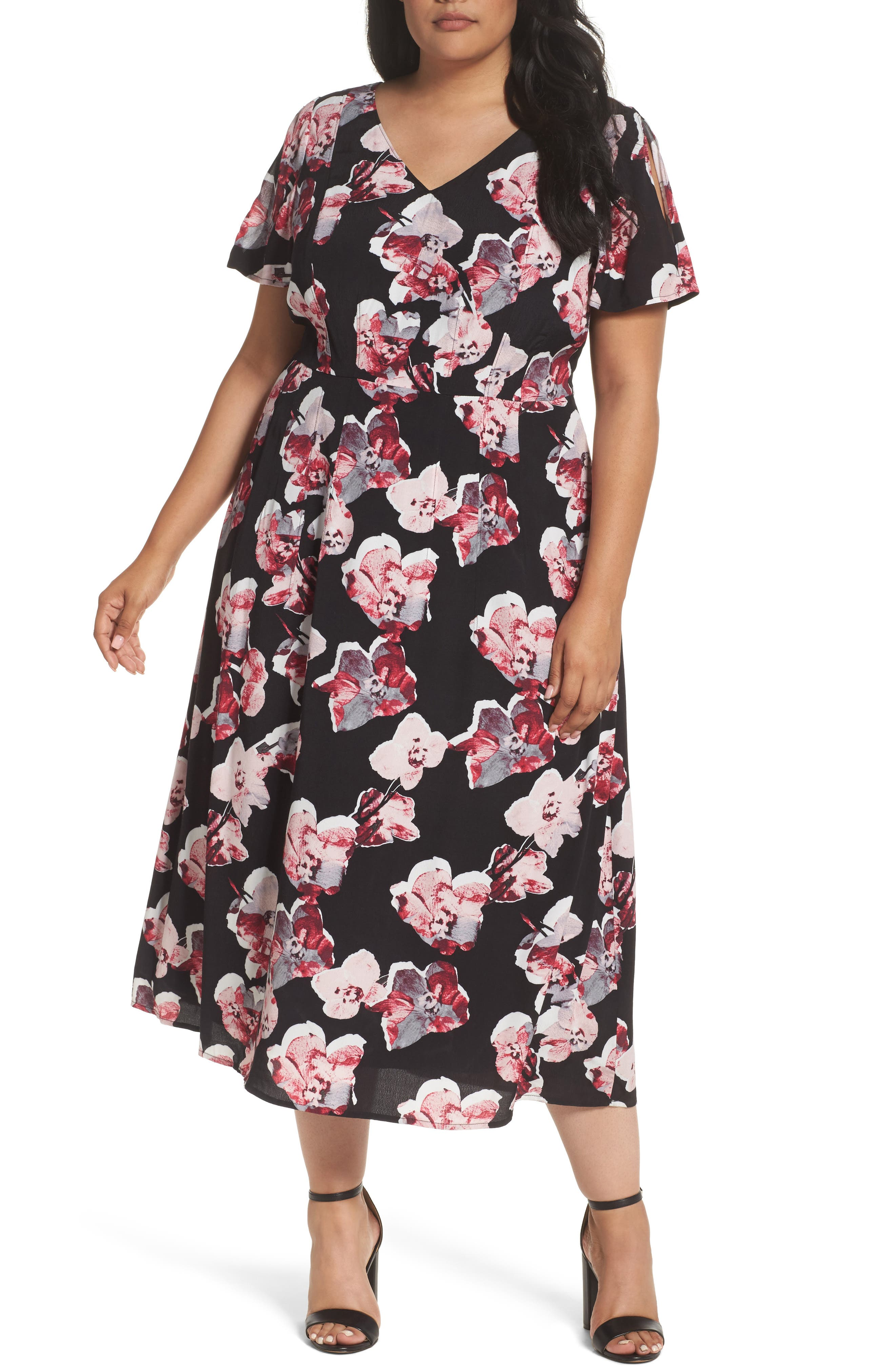 Sejour Cold Shoulder Flared Dress (Plus Size)