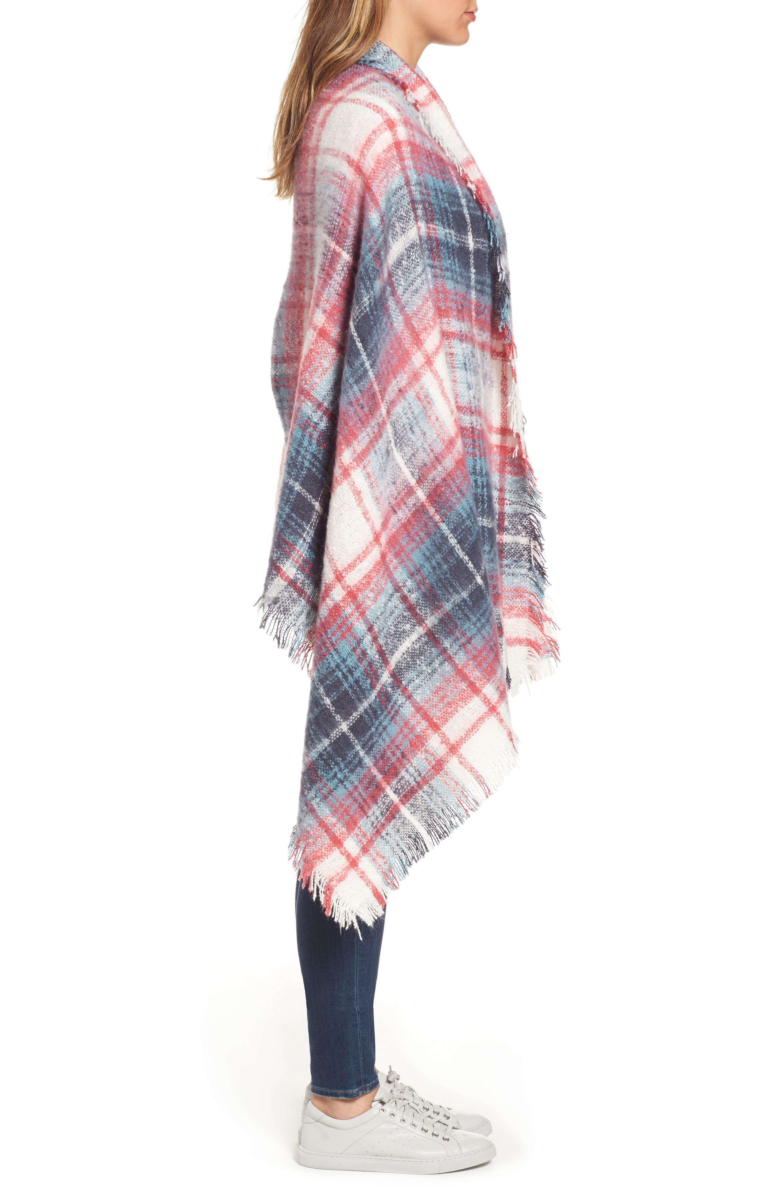 Tartan Blanket Wrap,                             Alternate thumbnail 3, color,                             Pink Combo