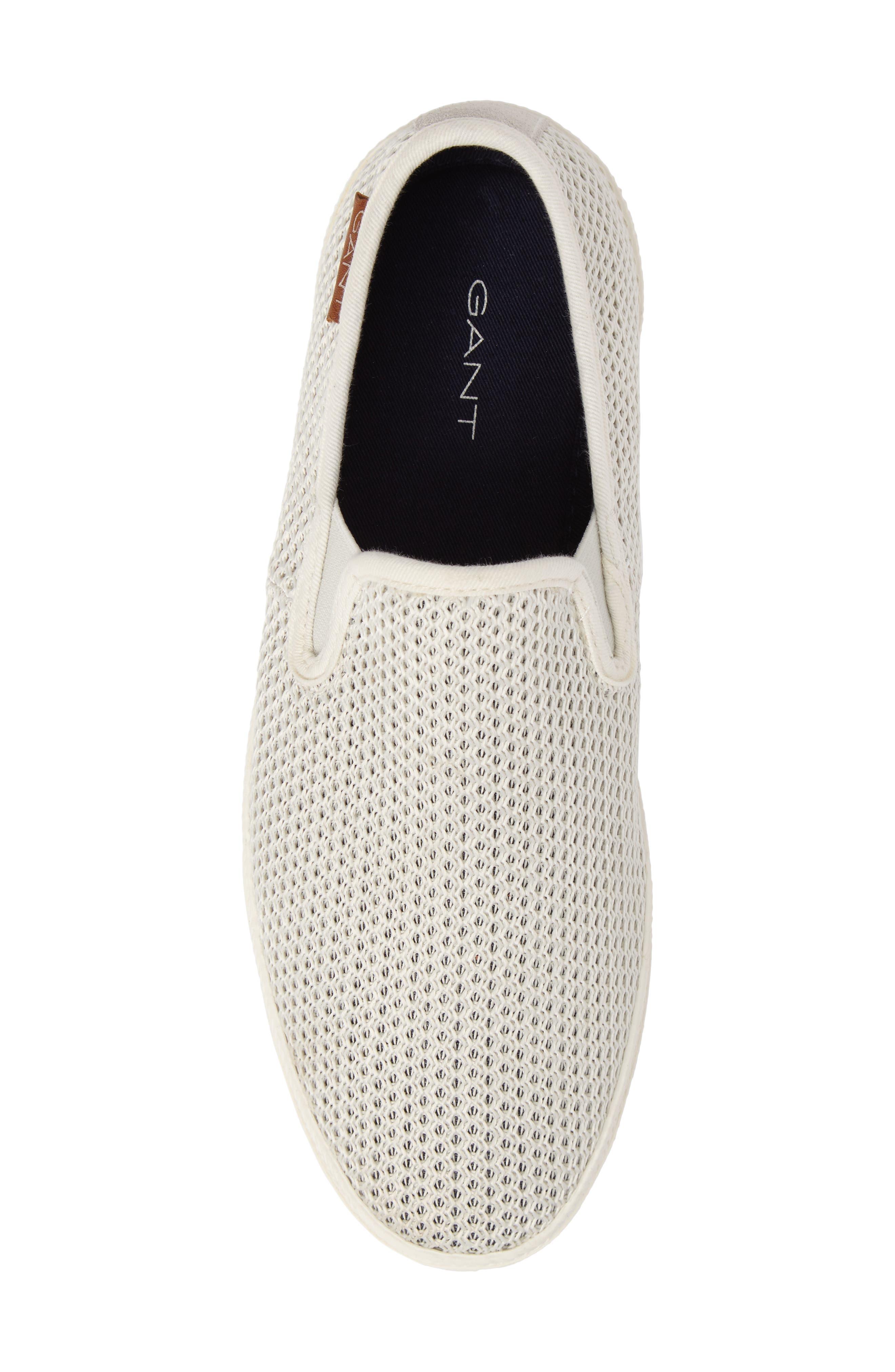 Delray Woven Slip-On Sneaker,                             Alternate thumbnail 5, color,                             Bone Beige Fabric